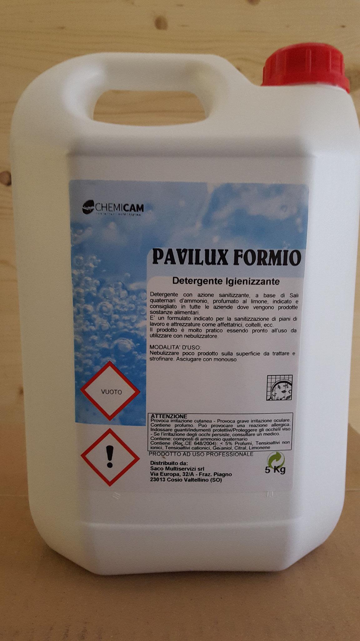 PAVILUX FORMIO - Detergente neutro sanitizzante profumato.Riduce lo sporco,carica batterica e profuma l'ambiente.