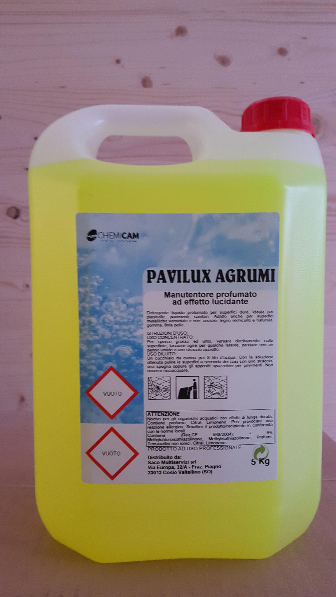 PAVILUX AGRUMI -  Detergente manutentore dal delicato profumo di agrumi. Pulisce e ridona lucentezza a tutti i tipi di pavimento e tutte le superfici lavabili