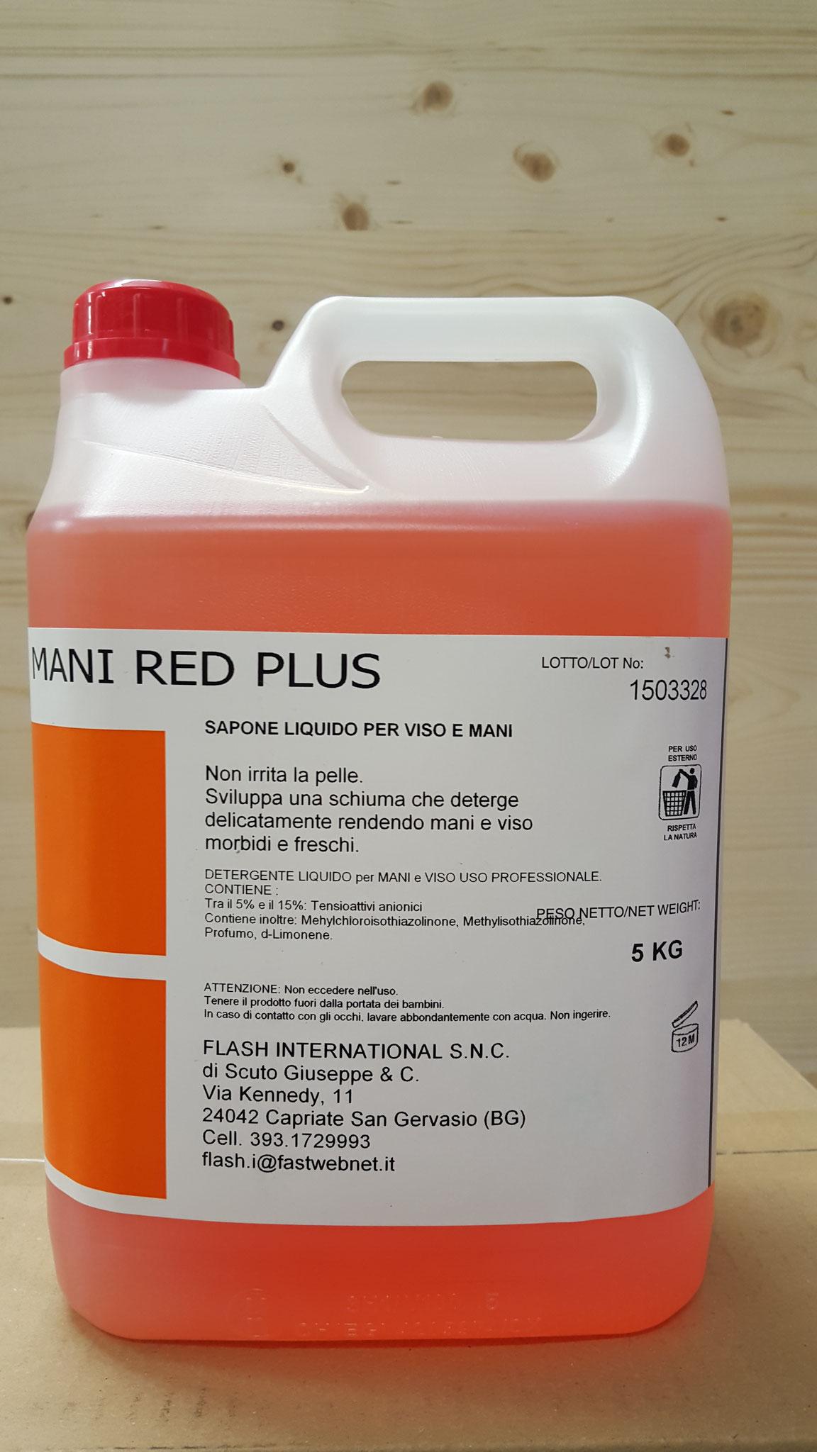 MANIRED PLUS - Lavamani neutro a forte azione sgrassante, non contiene sostanze abrasive, indicato per unto e sporco pesante,dermoprotettivo.