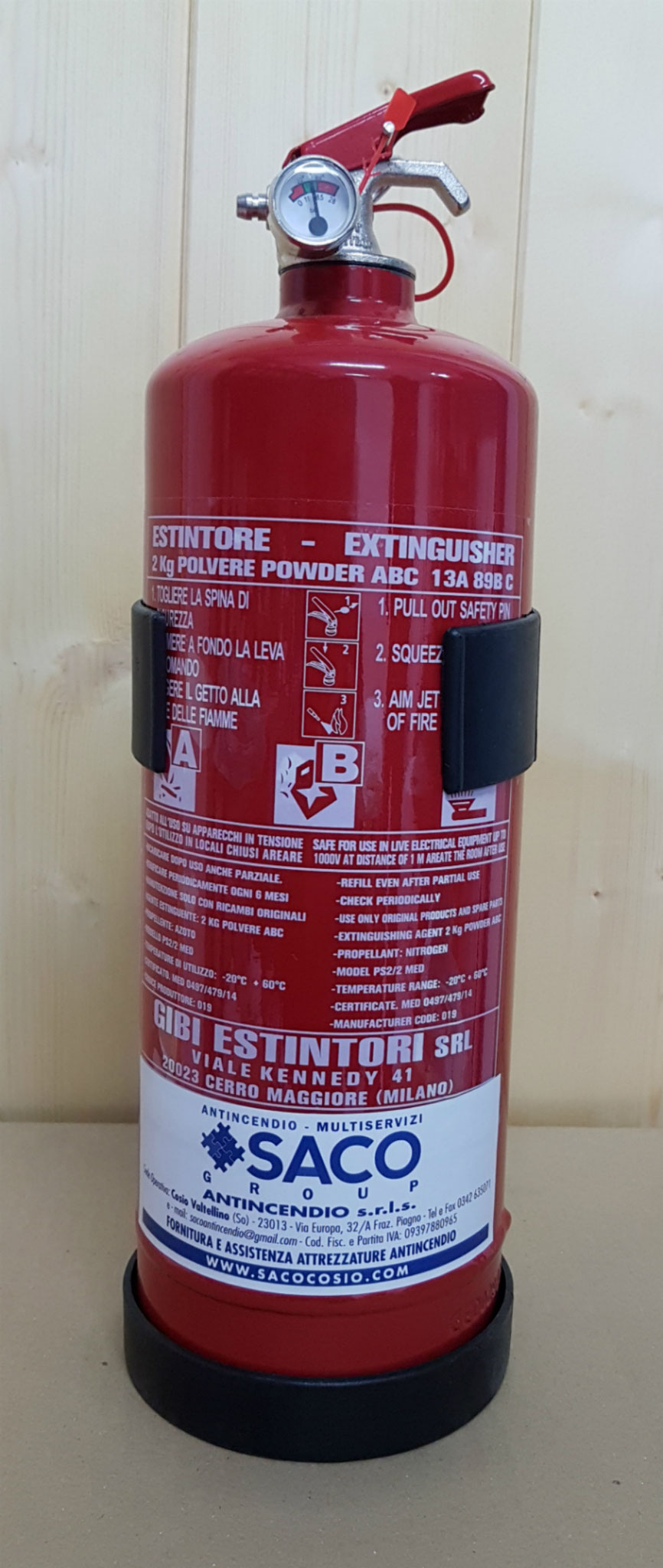 Estintore polvere ABC CE 2 kg.