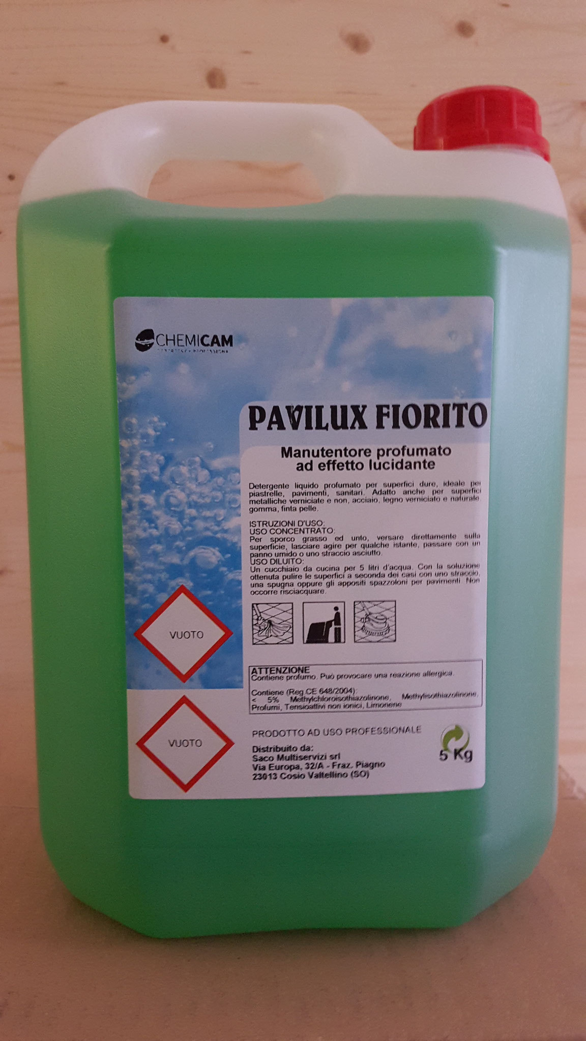 PAVILUX FIORITO - Detergente manutentore dal delicato profumo di fiori. Pulisce e ridona lucentezza a tutti i tipi di pavimento e tutte le superfici lavabili