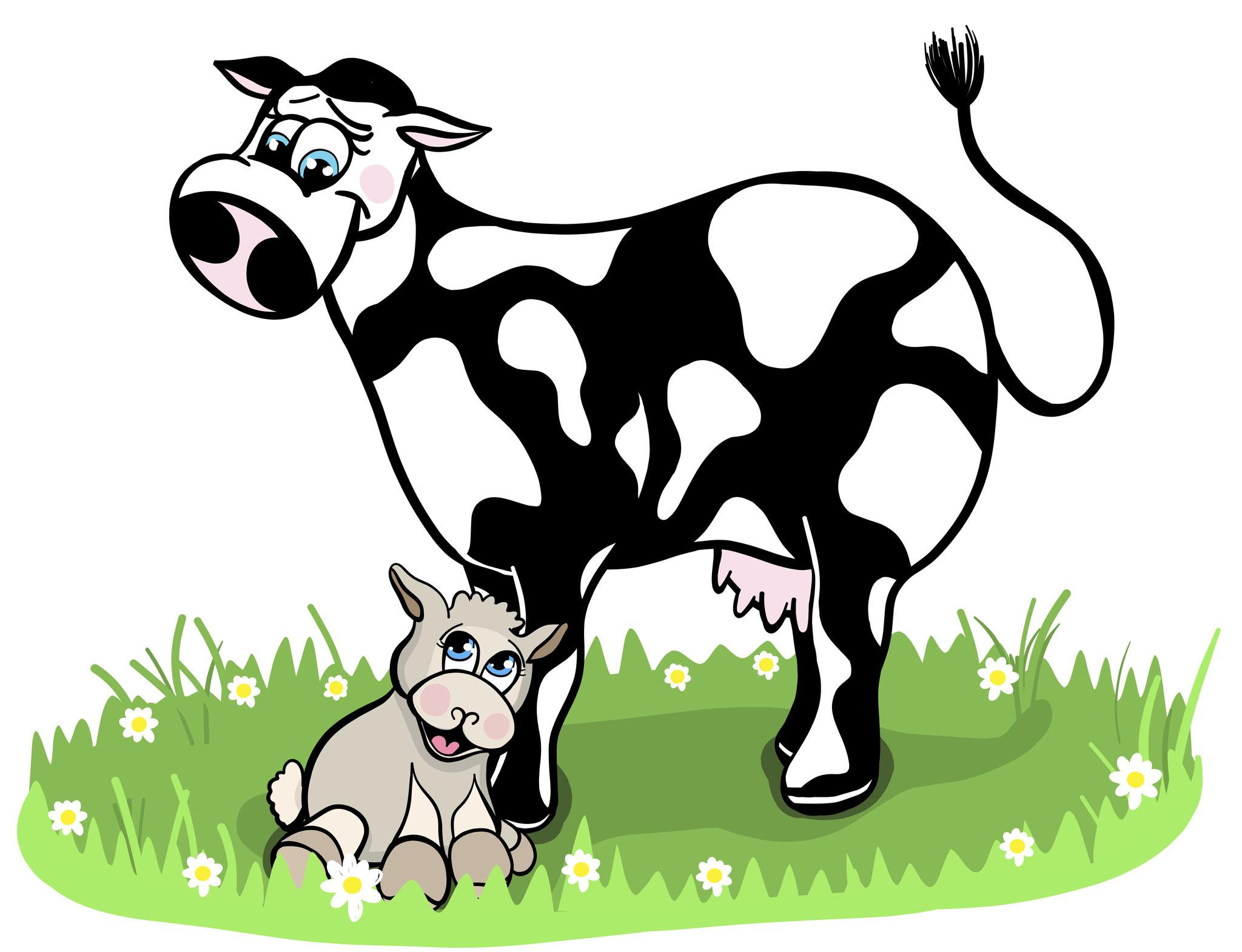 Kuh Wollna und Lämmchen Gordo