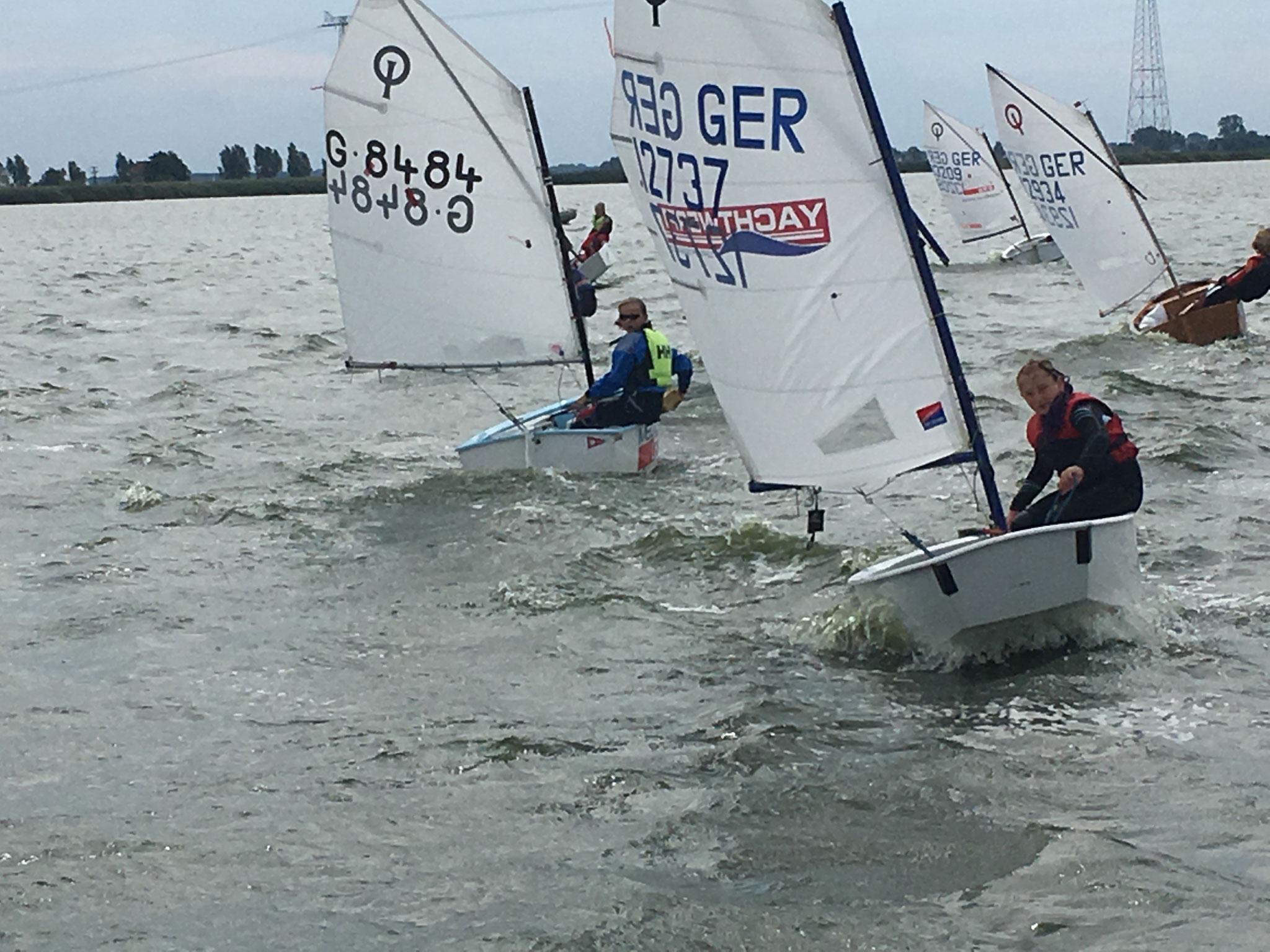 Startphase der Optimisten: Corali Csisko (Vordergrund) segelte in der Gesamtwertung auf Platz 3