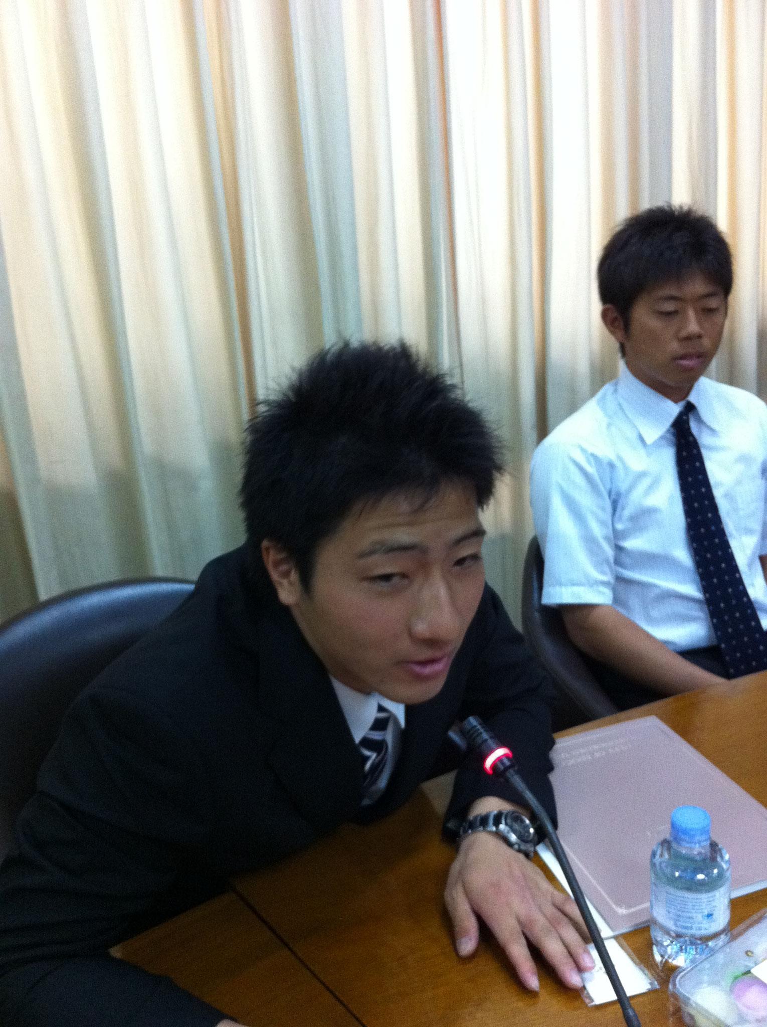 2013年の活動リーダー、廣田真也(筑波大学体育3年)と両角圭介(筑波大学大学院修士2年)