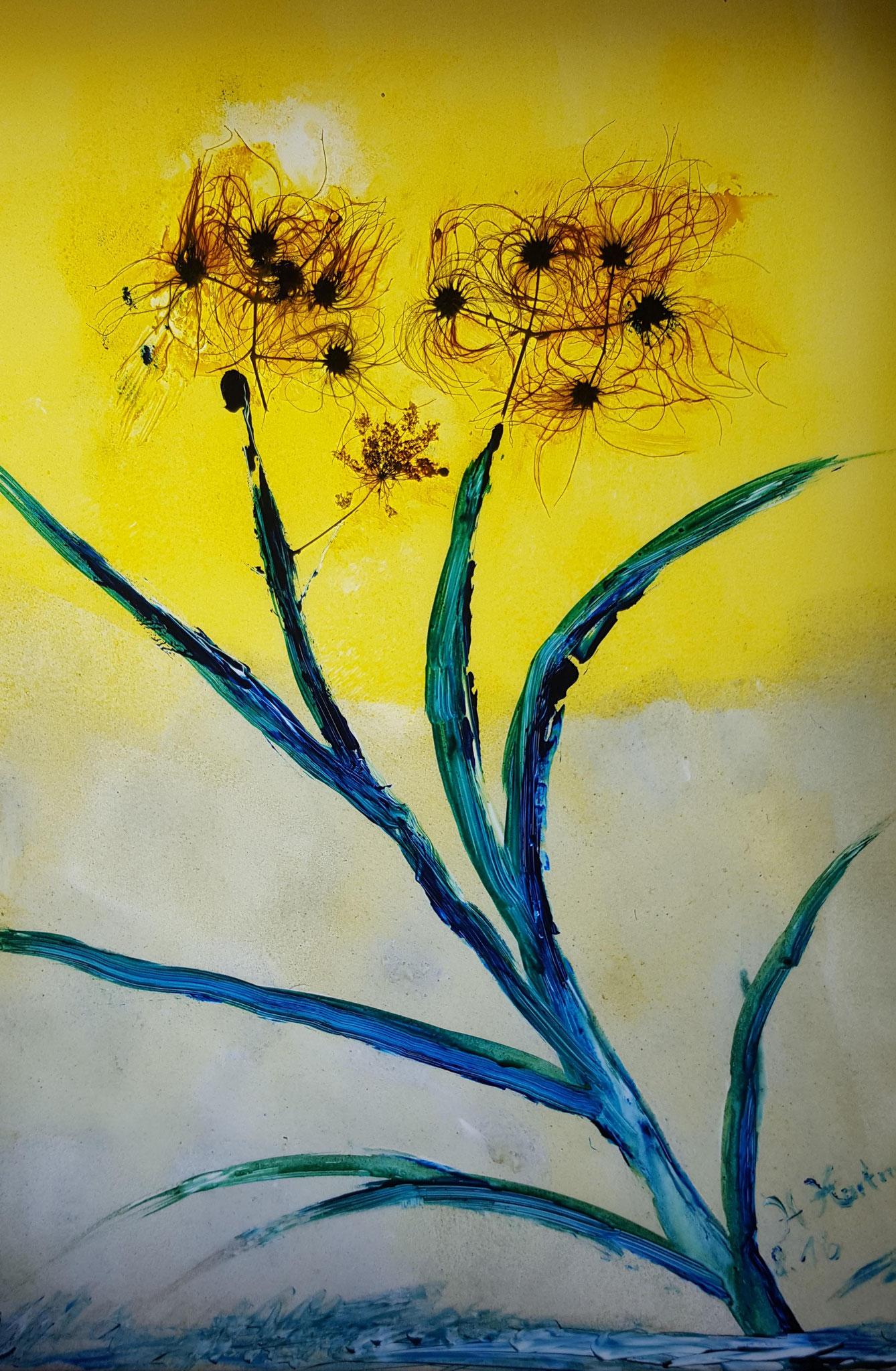 Nr. 2 - Blume mit echten Blüten 32,5x37,5cm - 150€