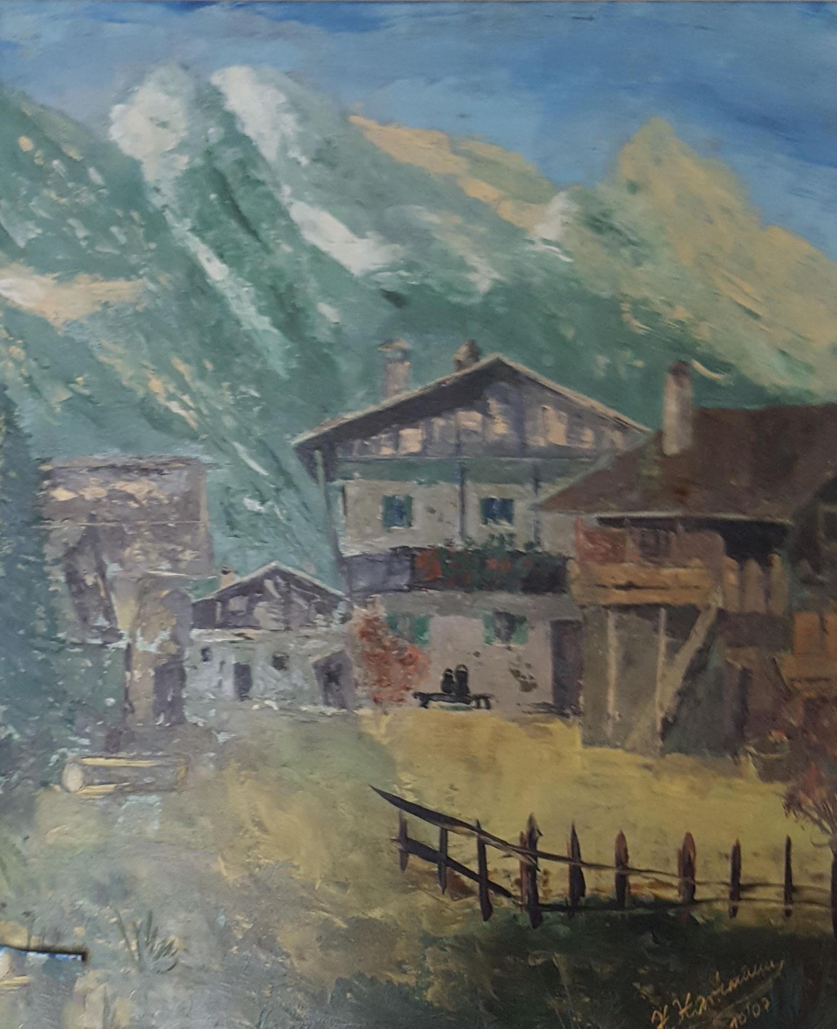 Nr. 64 - Bauernhof auf Pappe 50x60cm - 1500 €