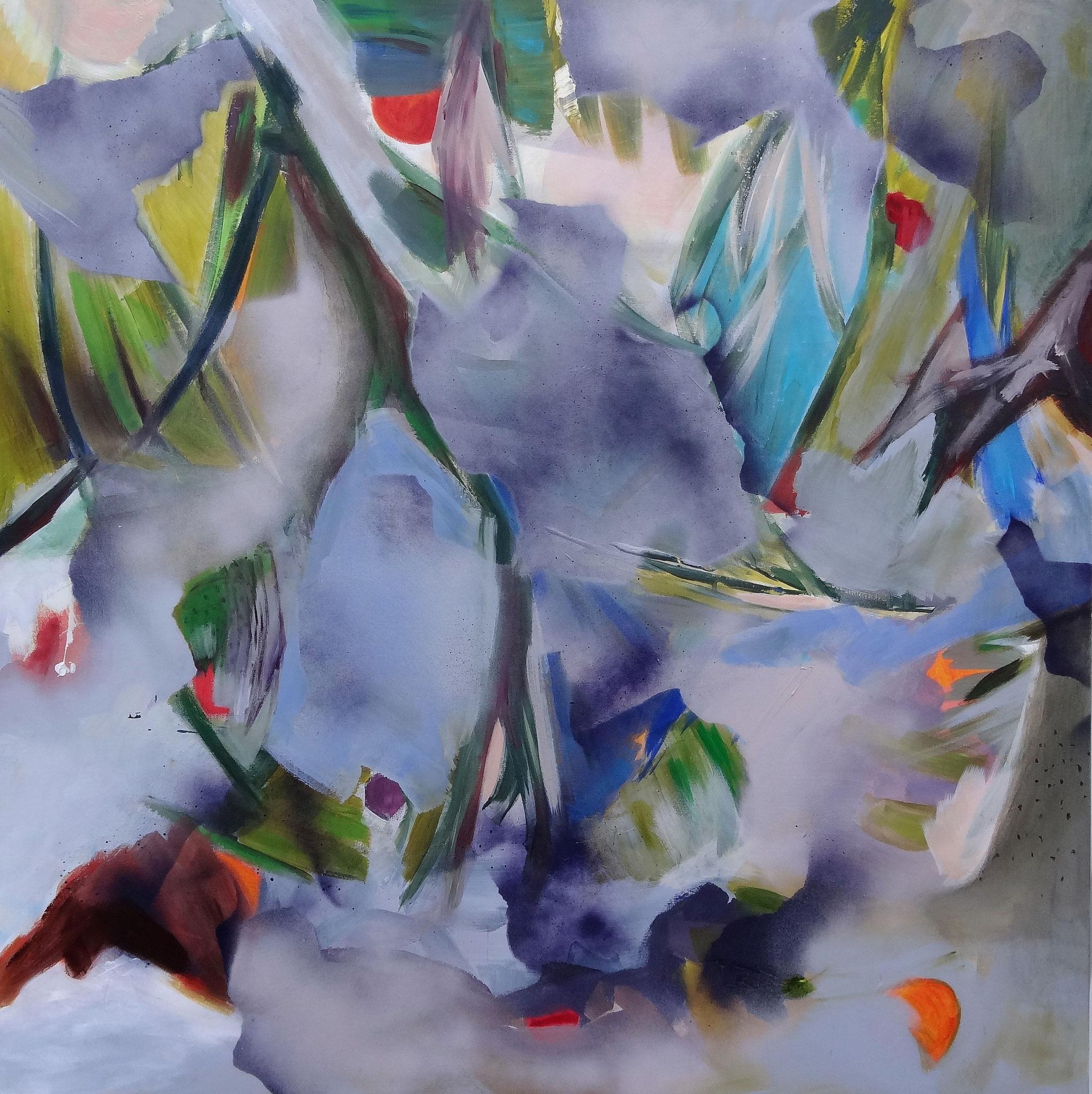 o.T., 100 x 100 cm, Acryl und Lackspray a.L.