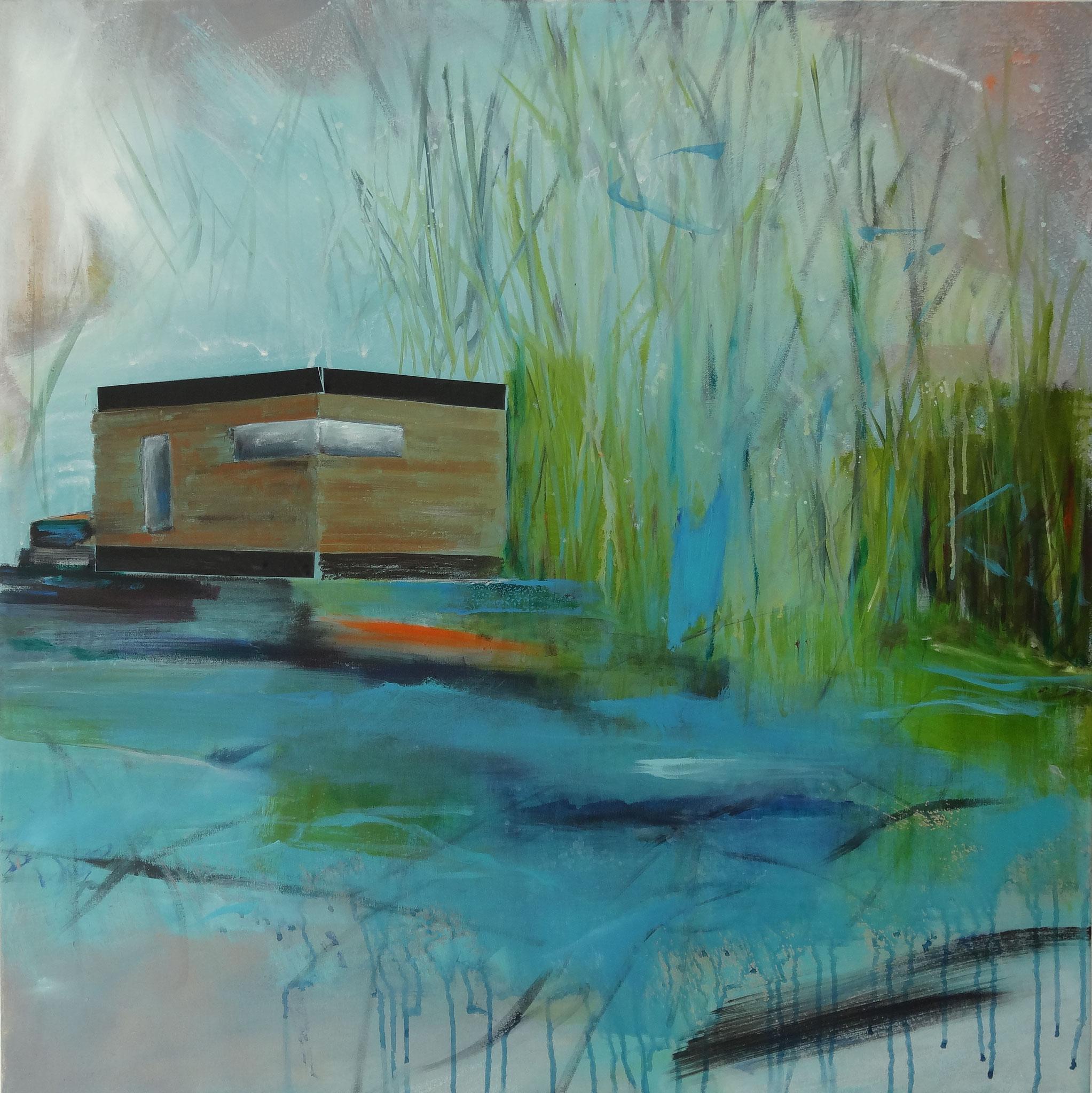 o.T., 2013, 80 x 80 cm, Acryl, Öl, Tape a.L.