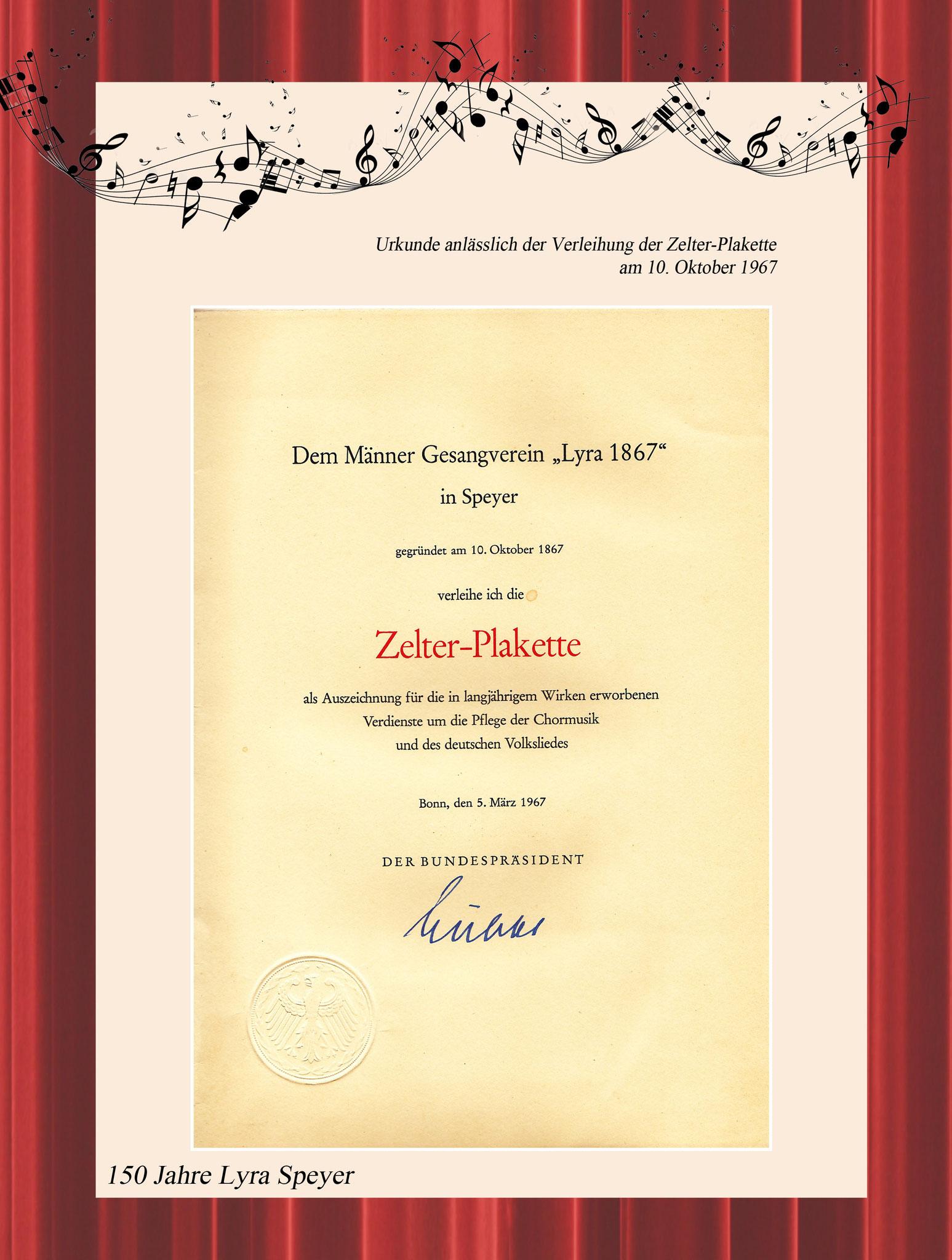 Verleihung der Zelterplakette 5.3.1967