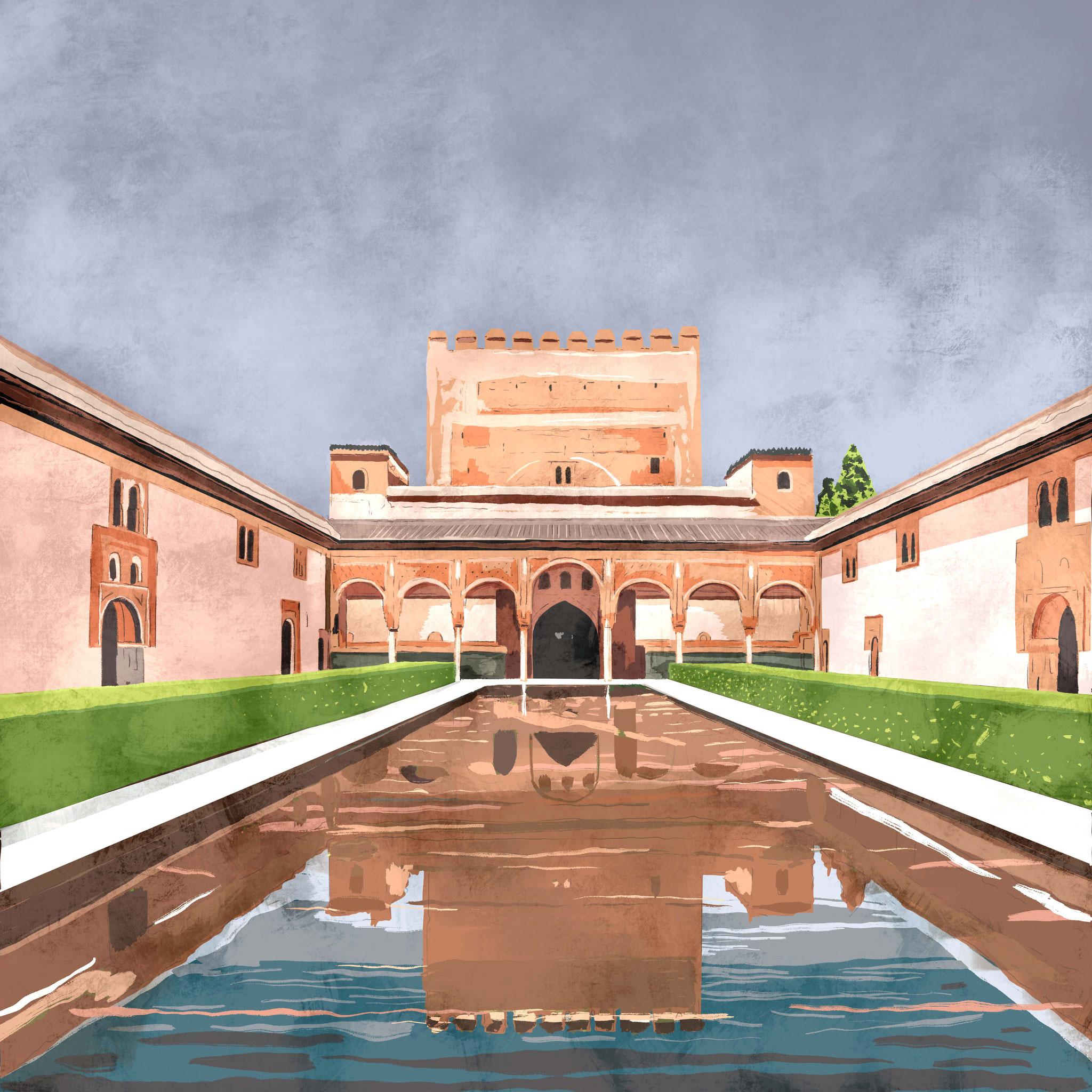 """""""Alhambra"""",  Estampación digital, 50 x 70 cm  y  30 x 42,6 cm."""