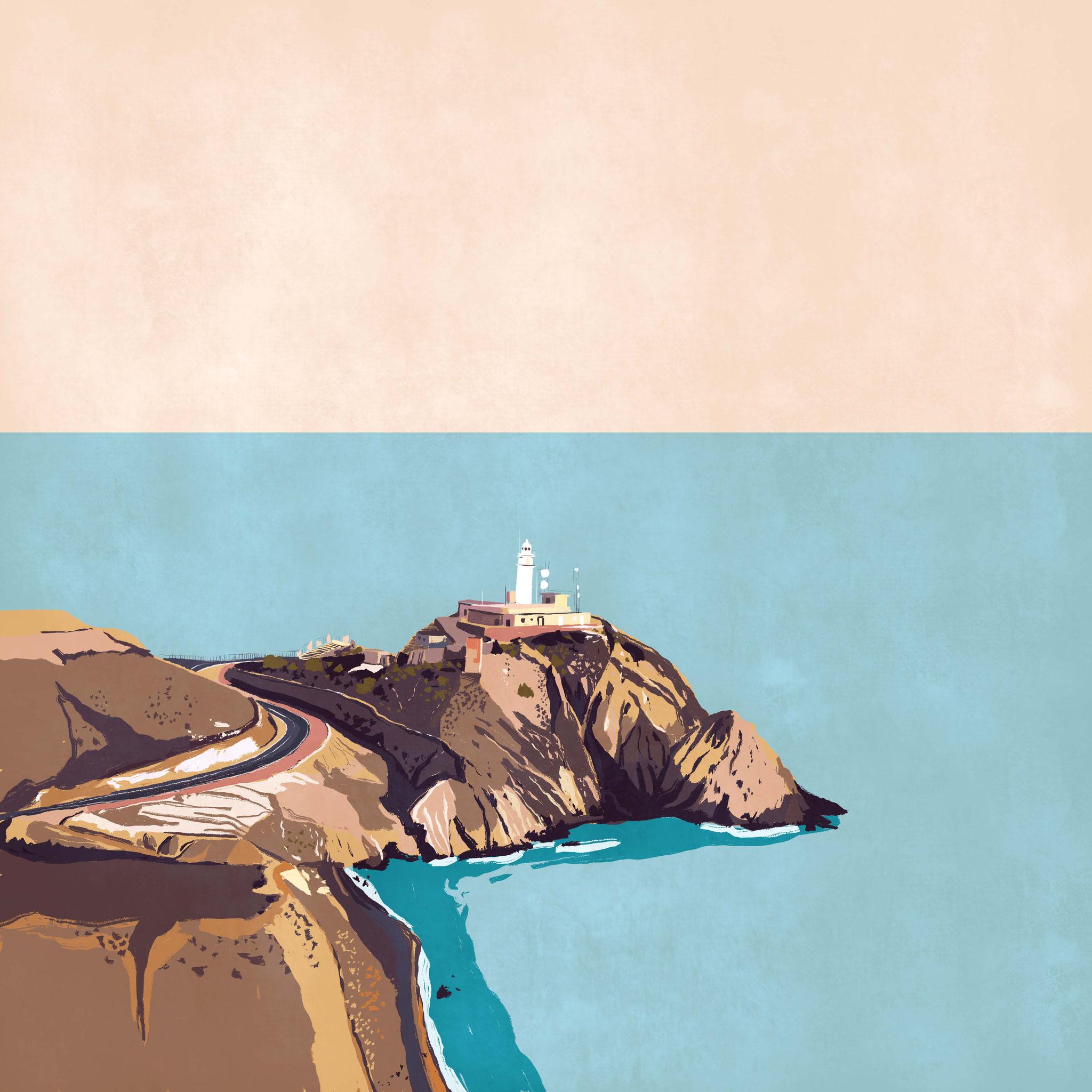 """""""Faro del Cabo de Gata"""",  Estampación digital, 50 x 70 cm  y  30 x 42,6 cm."""