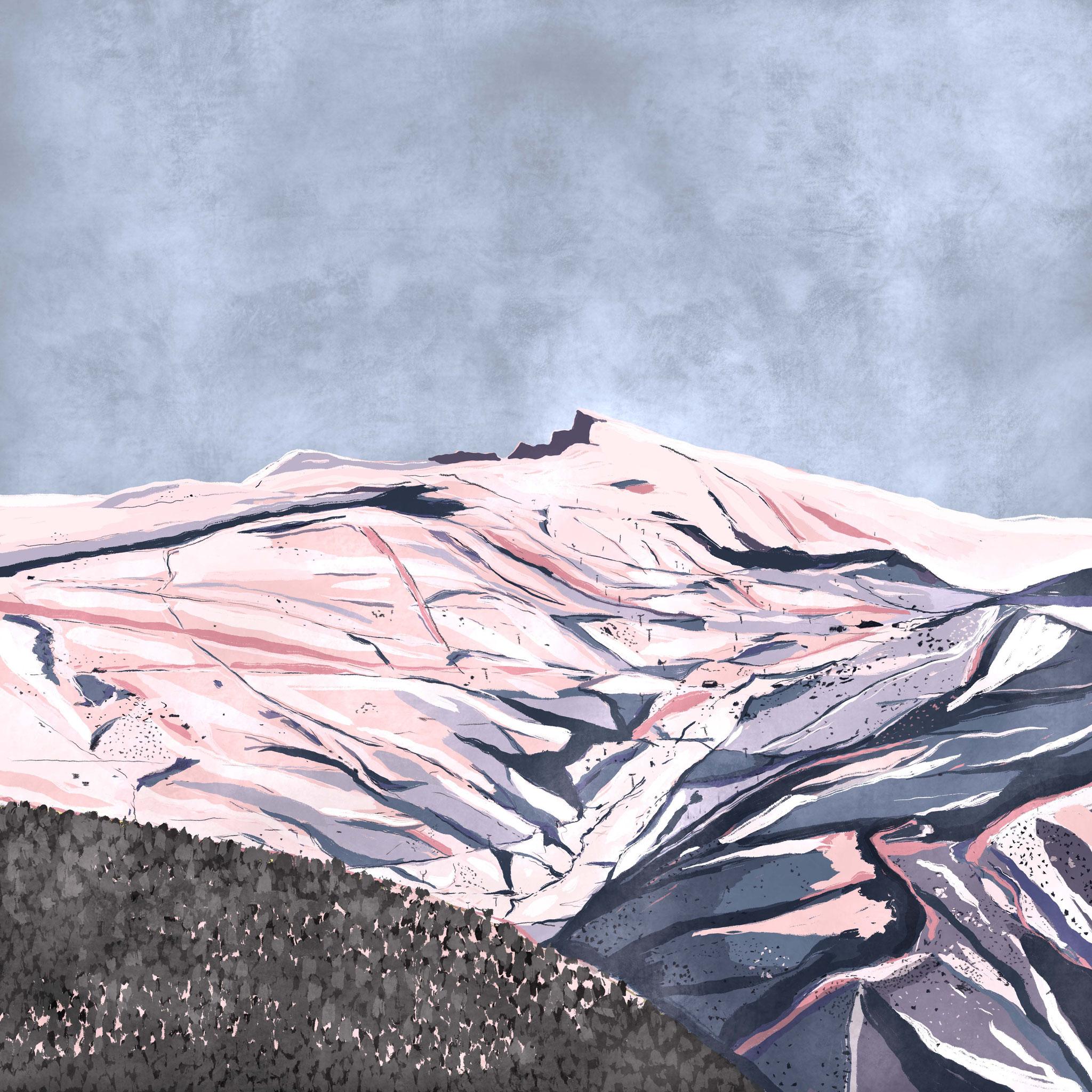"""""""El Mulhacen"""",  Estampación digital, 50 x 70 cm  y  30 x 42,6 cm."""