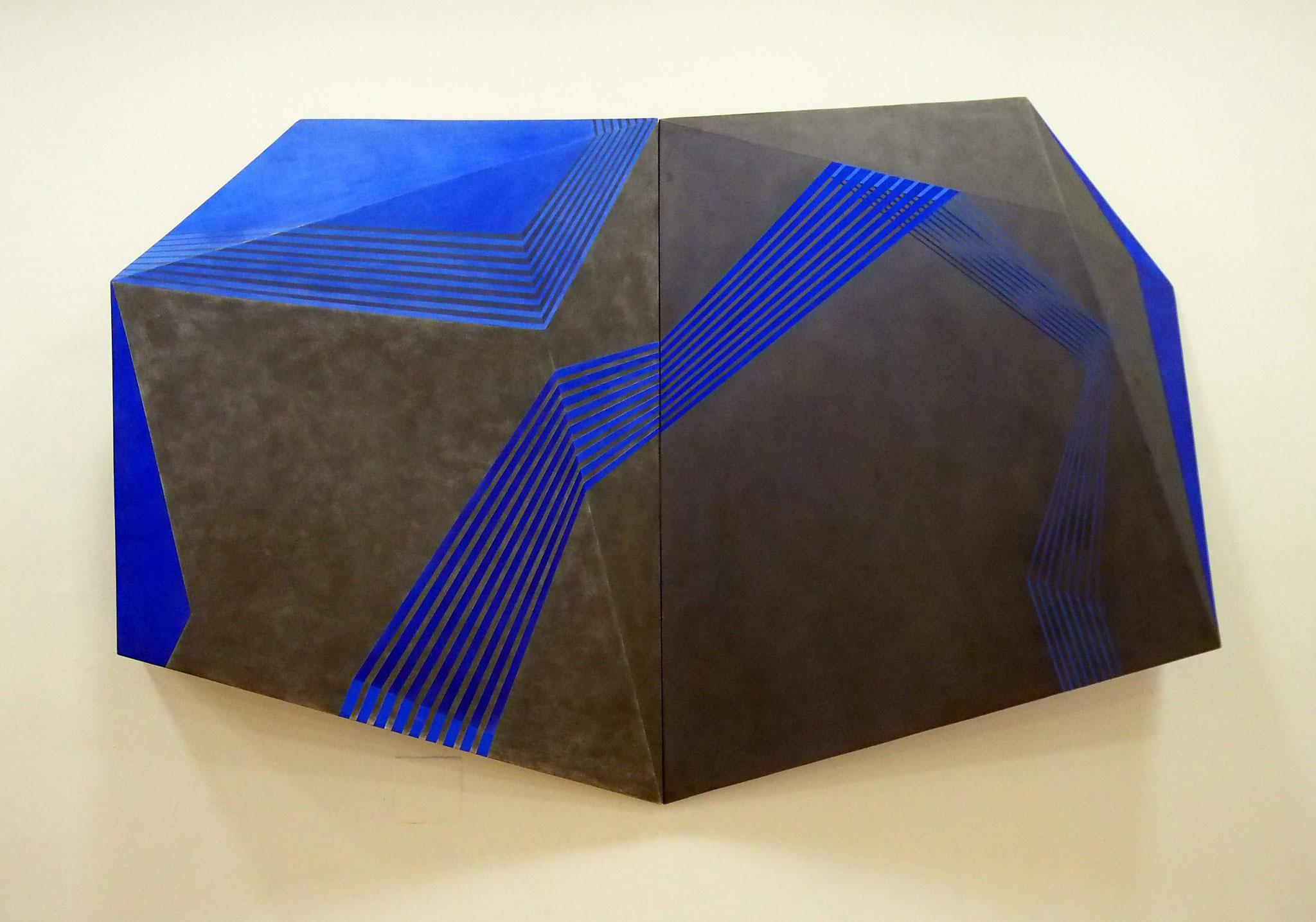 Labris Acrílico, grafito y pastel sobre estructura de madera 120 x180 x 23 cm.