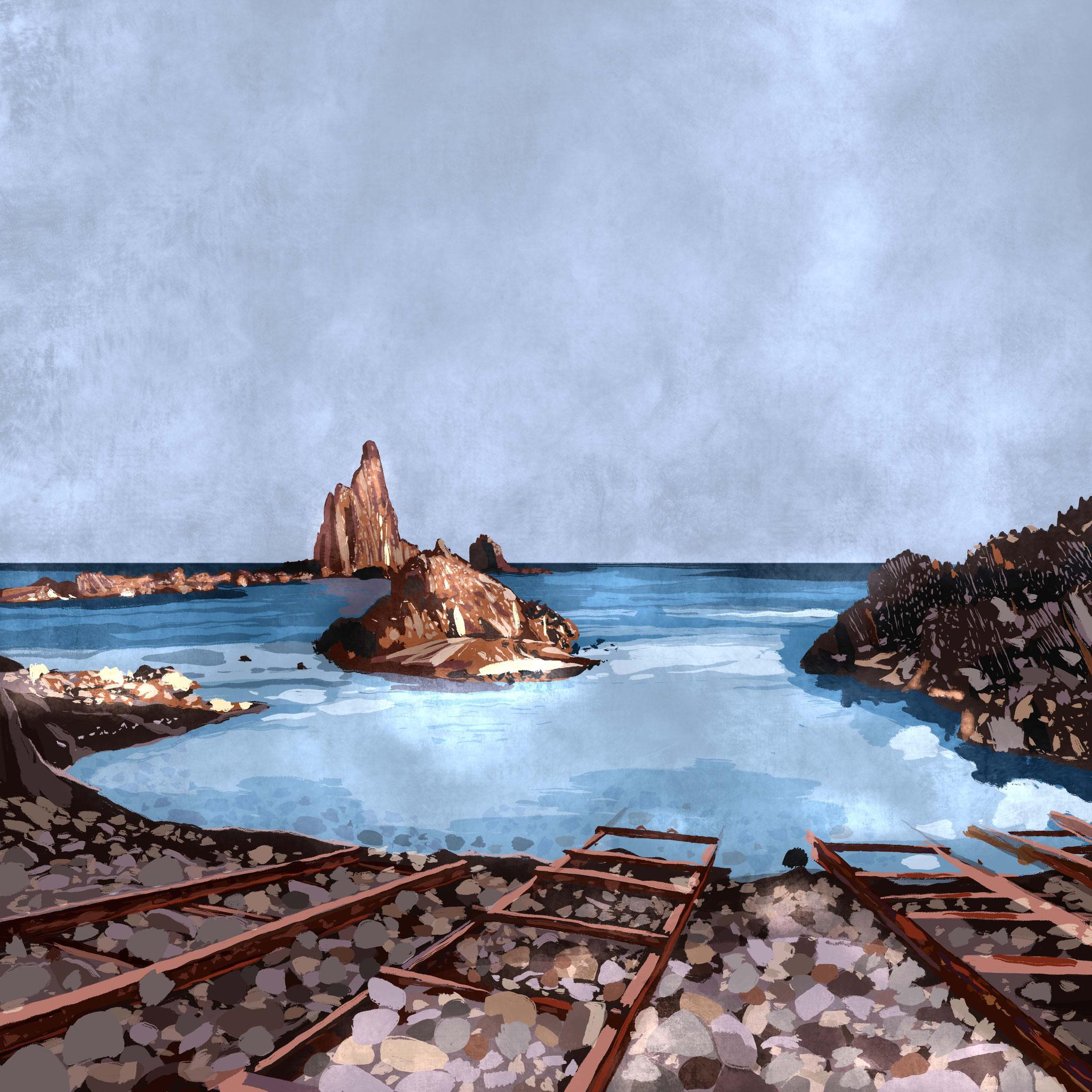 """""""Arrecife de las sirenas"""", Estampación digital, 50 x 70 cm  y  30 x 42,6 cm."""