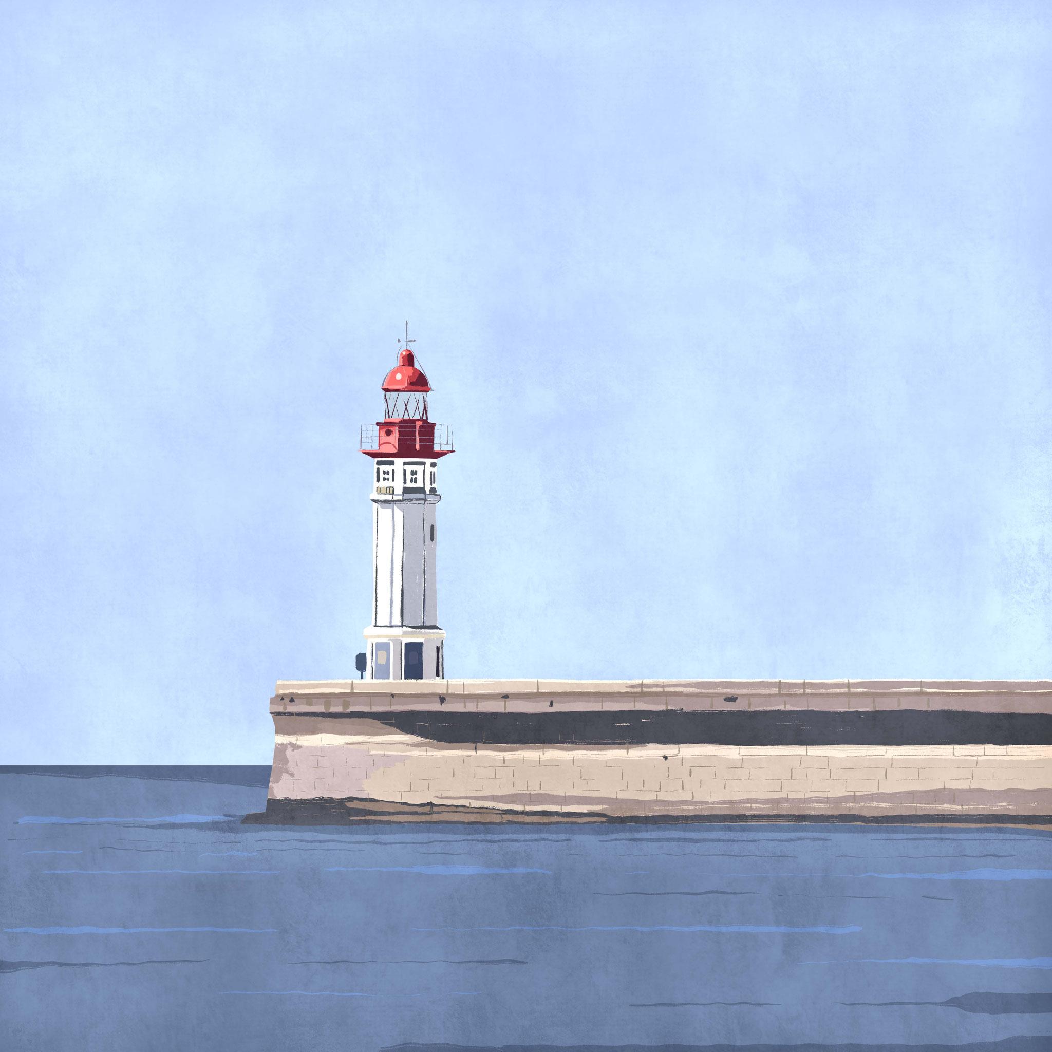 """""""Faro de Almería"""",  Estampación digital, 50 x 70 cm  y  30 x 42,6 cm."""
