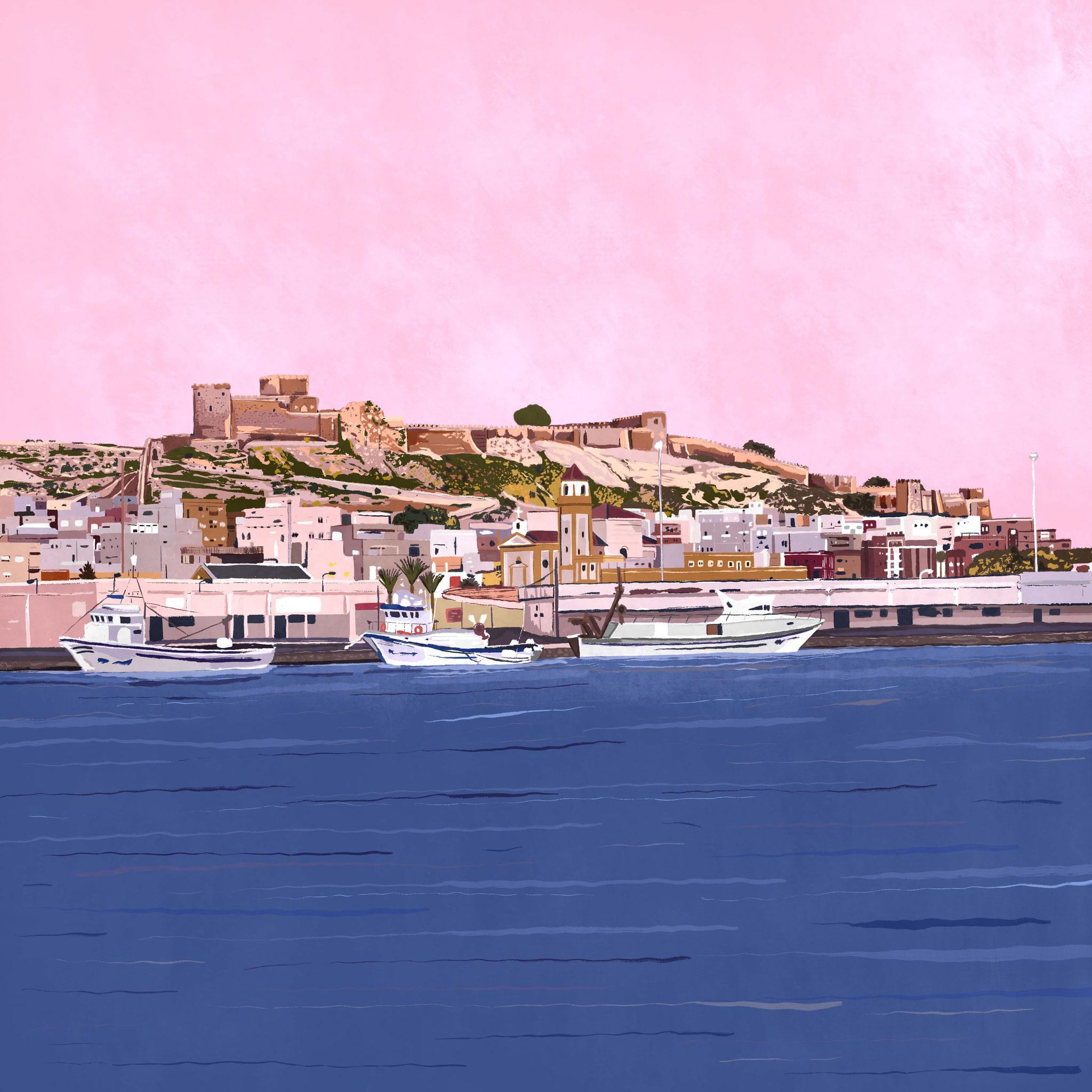 """""""Puerto de Almería"""",  Estampación digital, 50 x 70 cm  y  30 x 42,6 cm."""