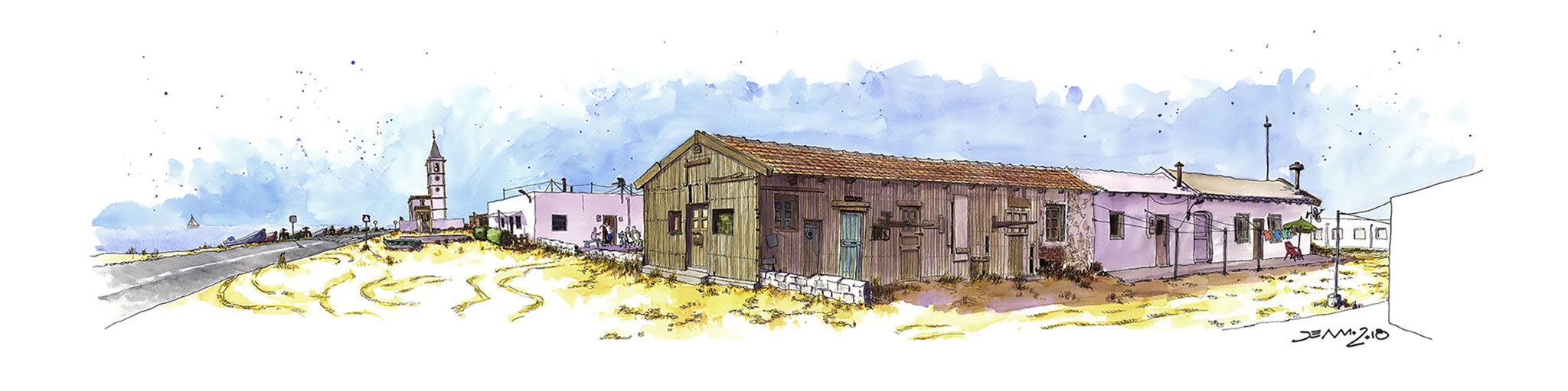 Casas de las Salinas. Acuarela sobre papel.