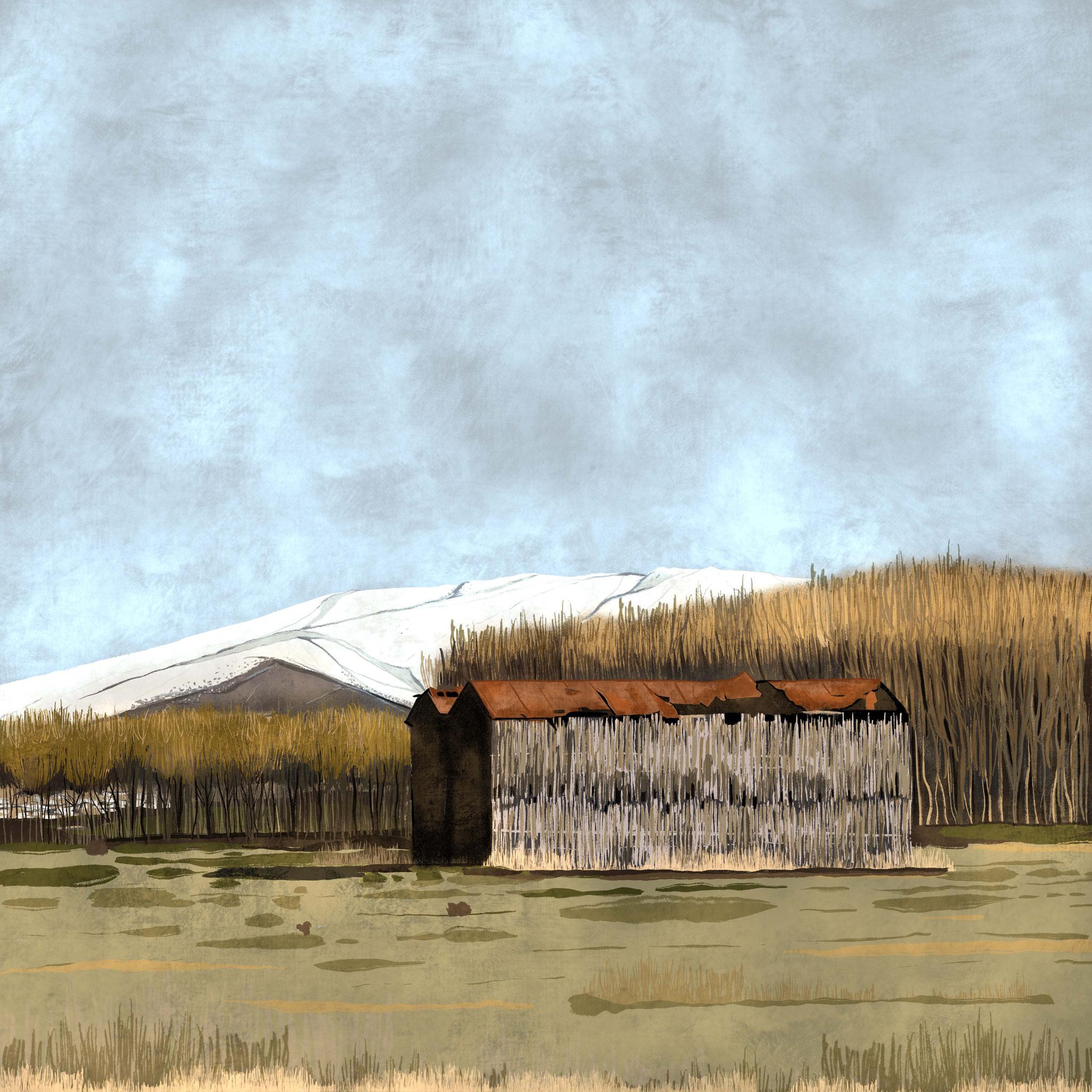 """""""Secadero de Tabaco en la Vega"""",  Estampación digital, 50 x 70 cm  y  30 x 42,6 cm."""