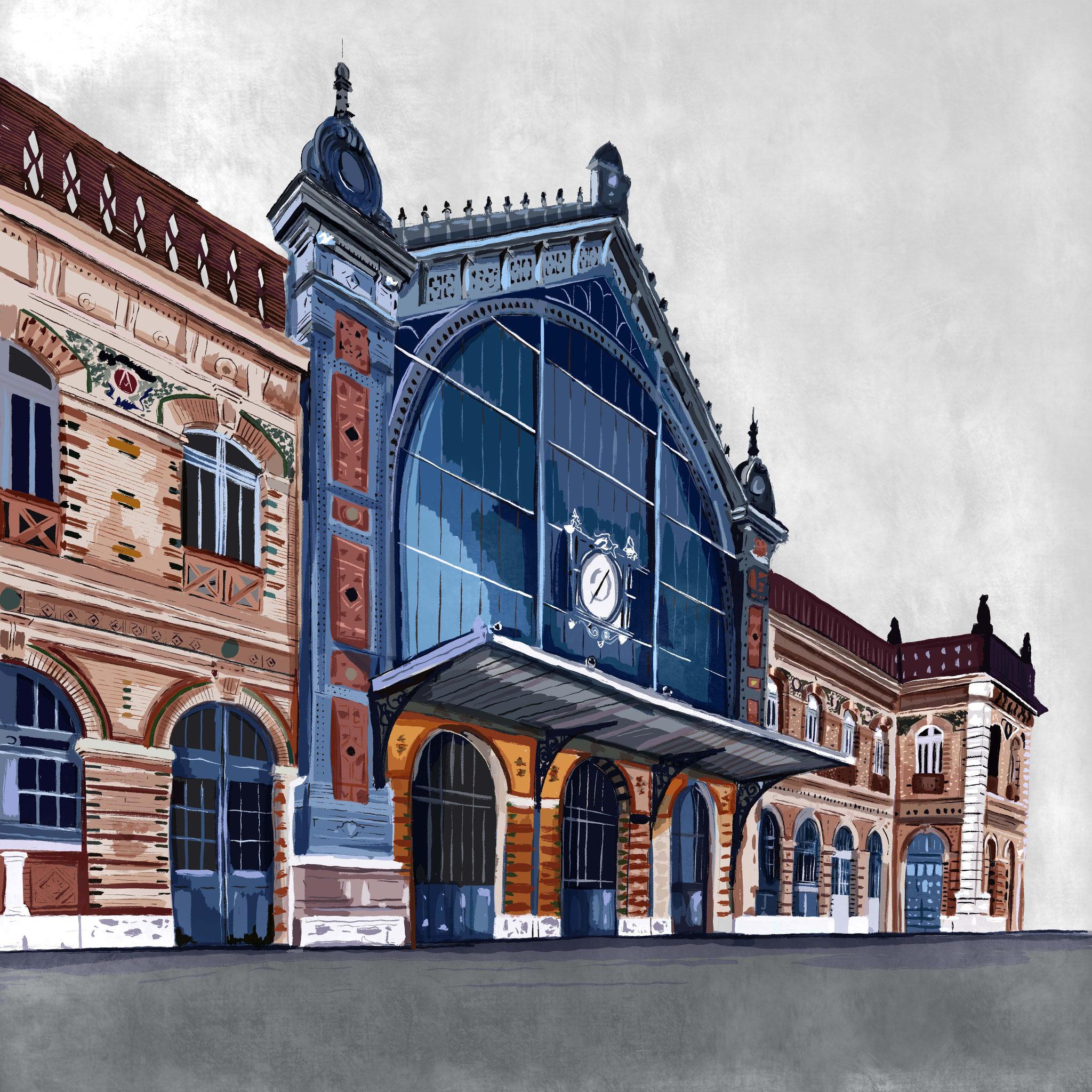 """""""Estación Ferrocarril"""",  Estampación digital, 50 x 70 cm  y  30 x 42,6 cm."""