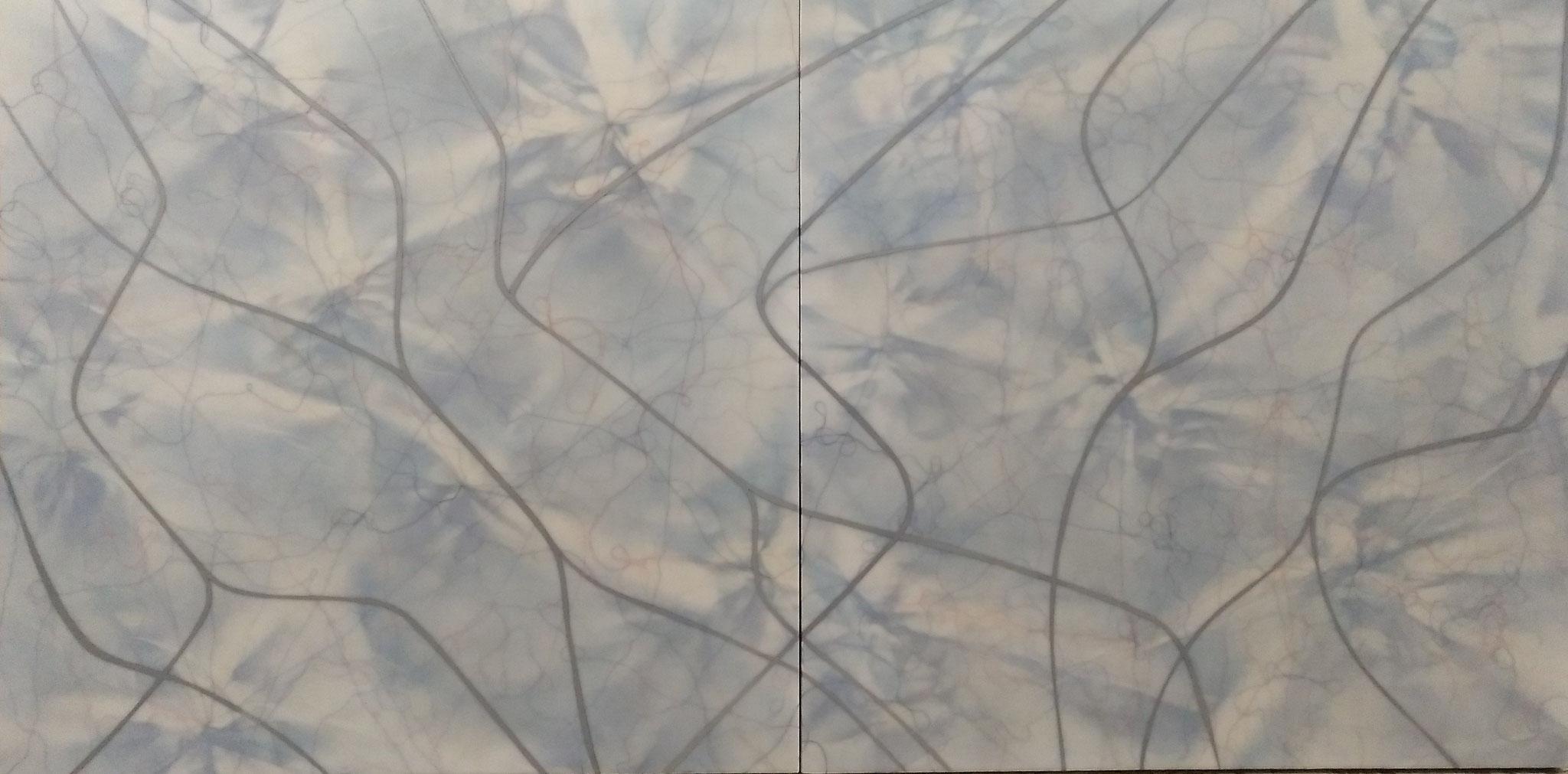 """Antonio Llanas """"Fluviales"""" Técnica mixta sobre tabla 200 x 100cm."""