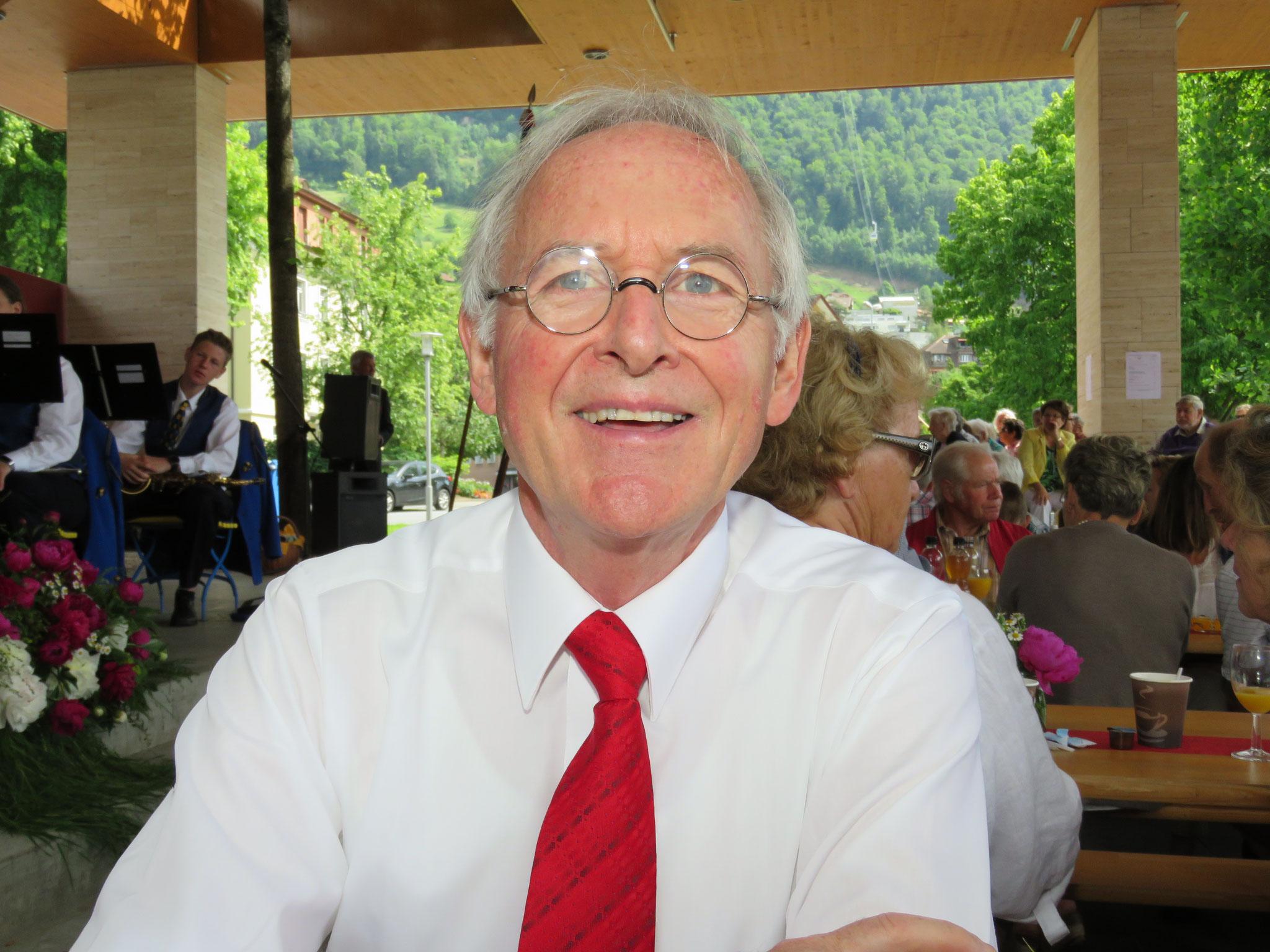 Unserem Trompetisten Gallus Bucher ist die Freude über das gelungene Fest sichtlich ins Gesicht geschrieben.