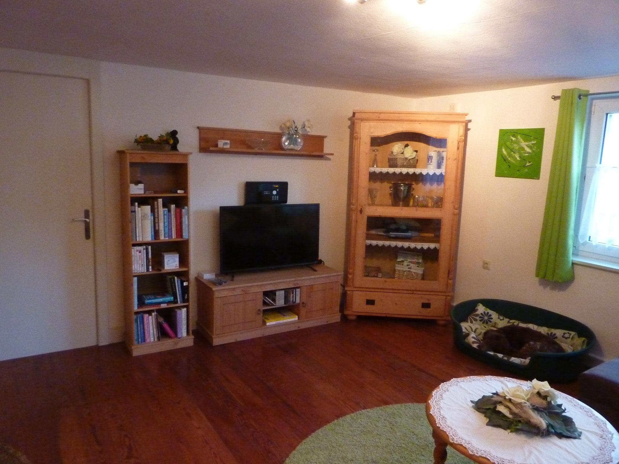 Wohnwand mit TV und Stereoanlage mit CD und DVD