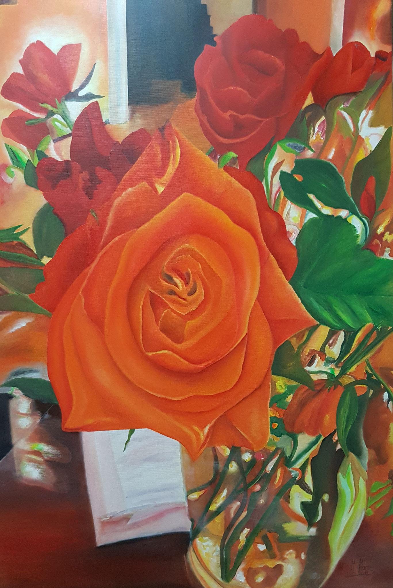 Inspired-Rosenbild-orange-rot-Stillleben-Blumenmalerei-Oelfarbe-auf-Leinwand-120x80cm-Malerei-kaufen-mieten