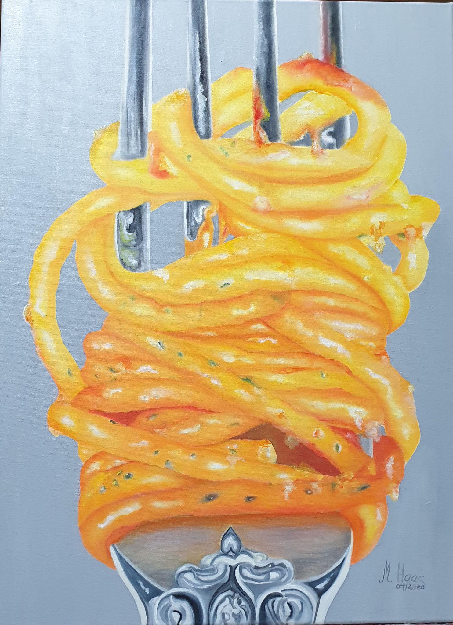In Warteposition-Oelbild-70x50cm-Atelier-Marion-Haas-Rheingau-Kunst-zum kaufen-mieten-Hessen-Spaghettibild-Spaghettimalerei-