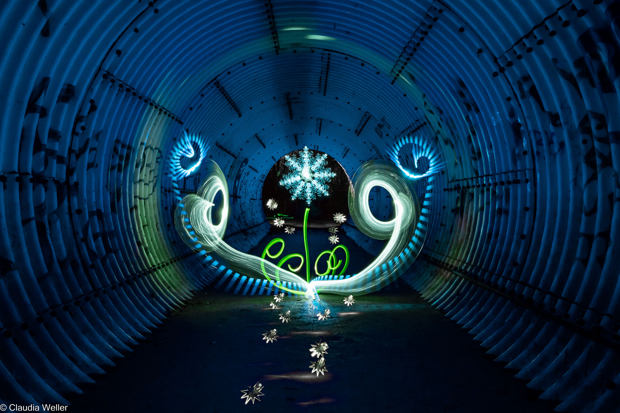 Eiskristallblömke im Tunnel