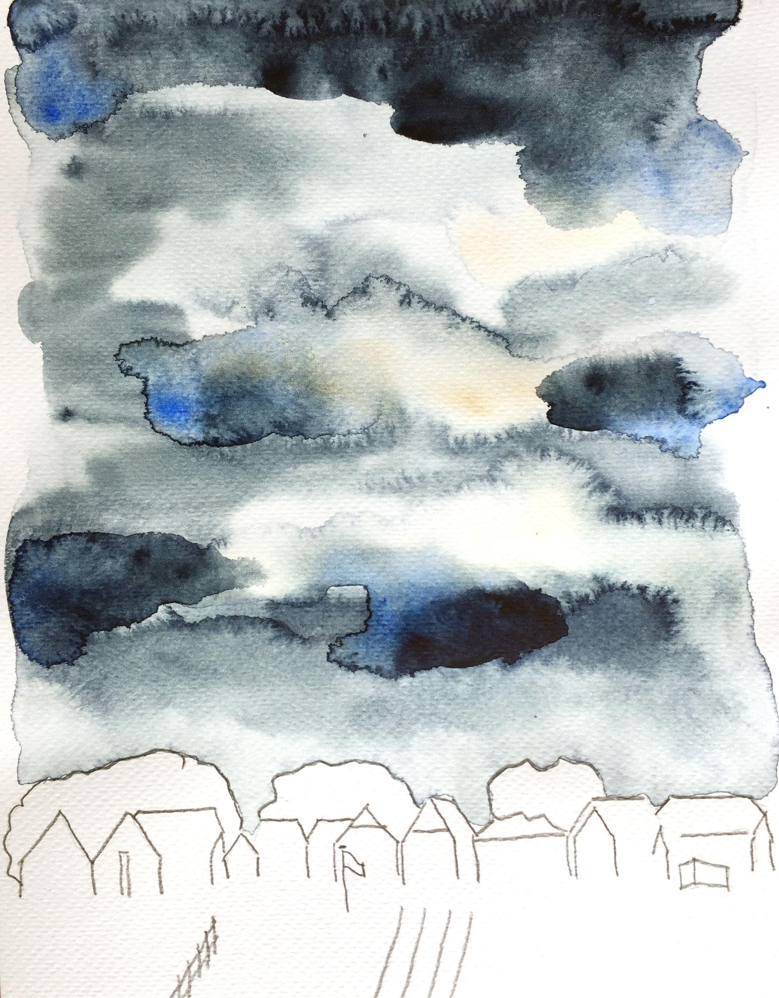 Sturmhimmel über Warft-Häusern, Hooge