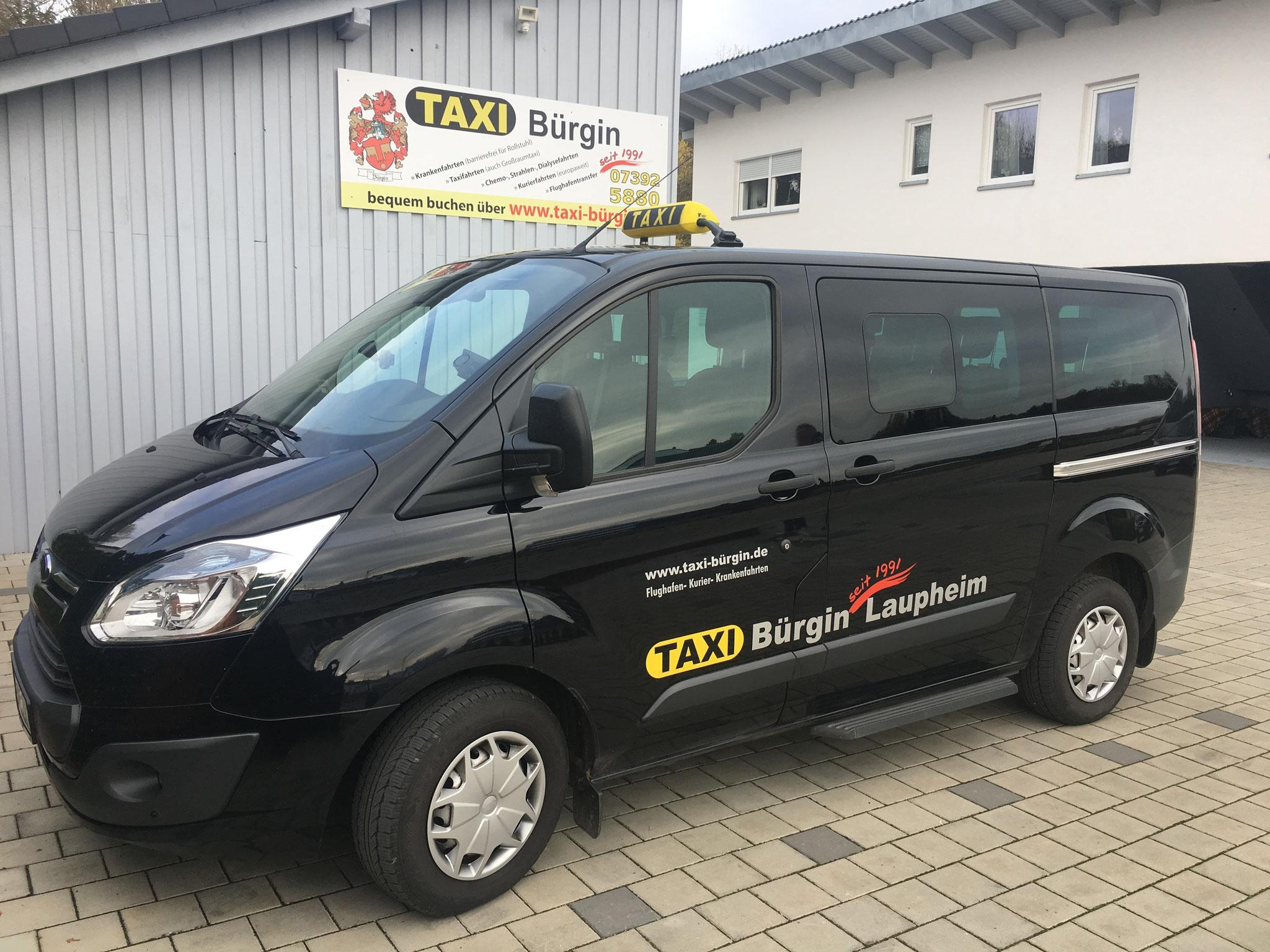 Ford Transit Custom, dass Taxi für bis zu 9 Personen und Gepäck