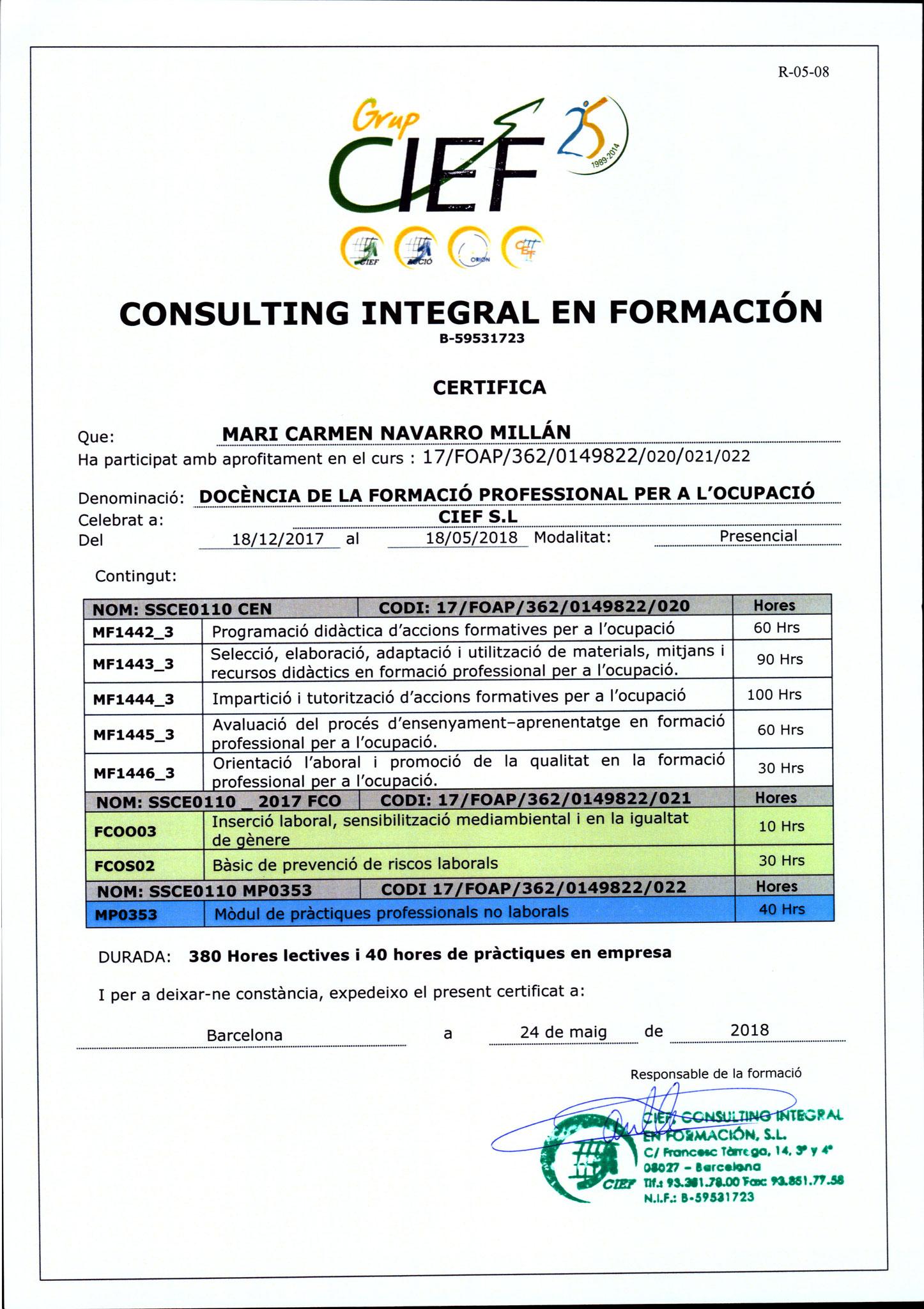 CP Docencia para la Formación Profesional