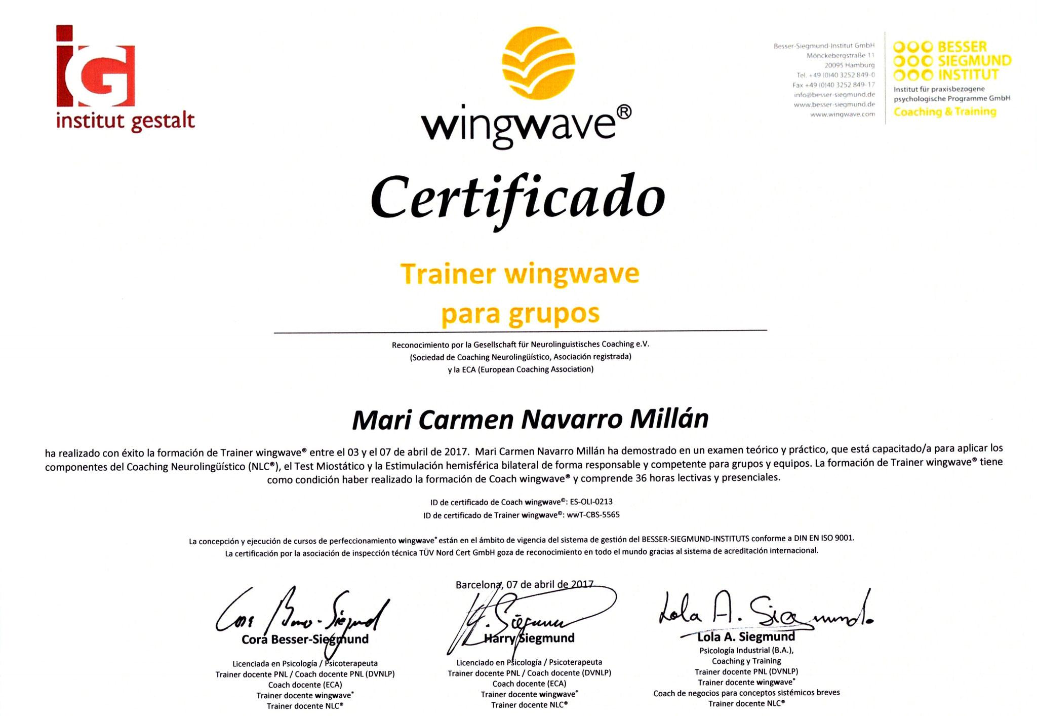 Certificada en trainer wingwave® para grupos