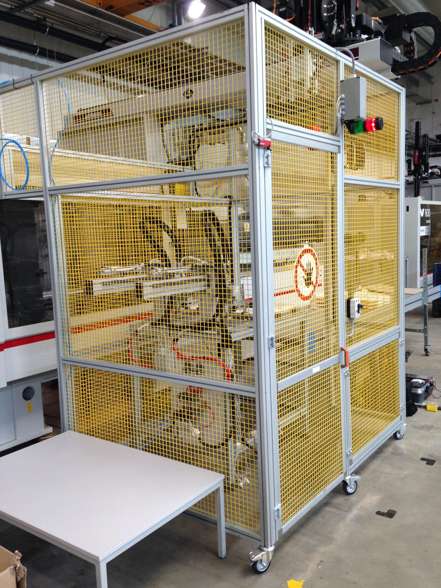 Protezione in alluminio e rete carrellata