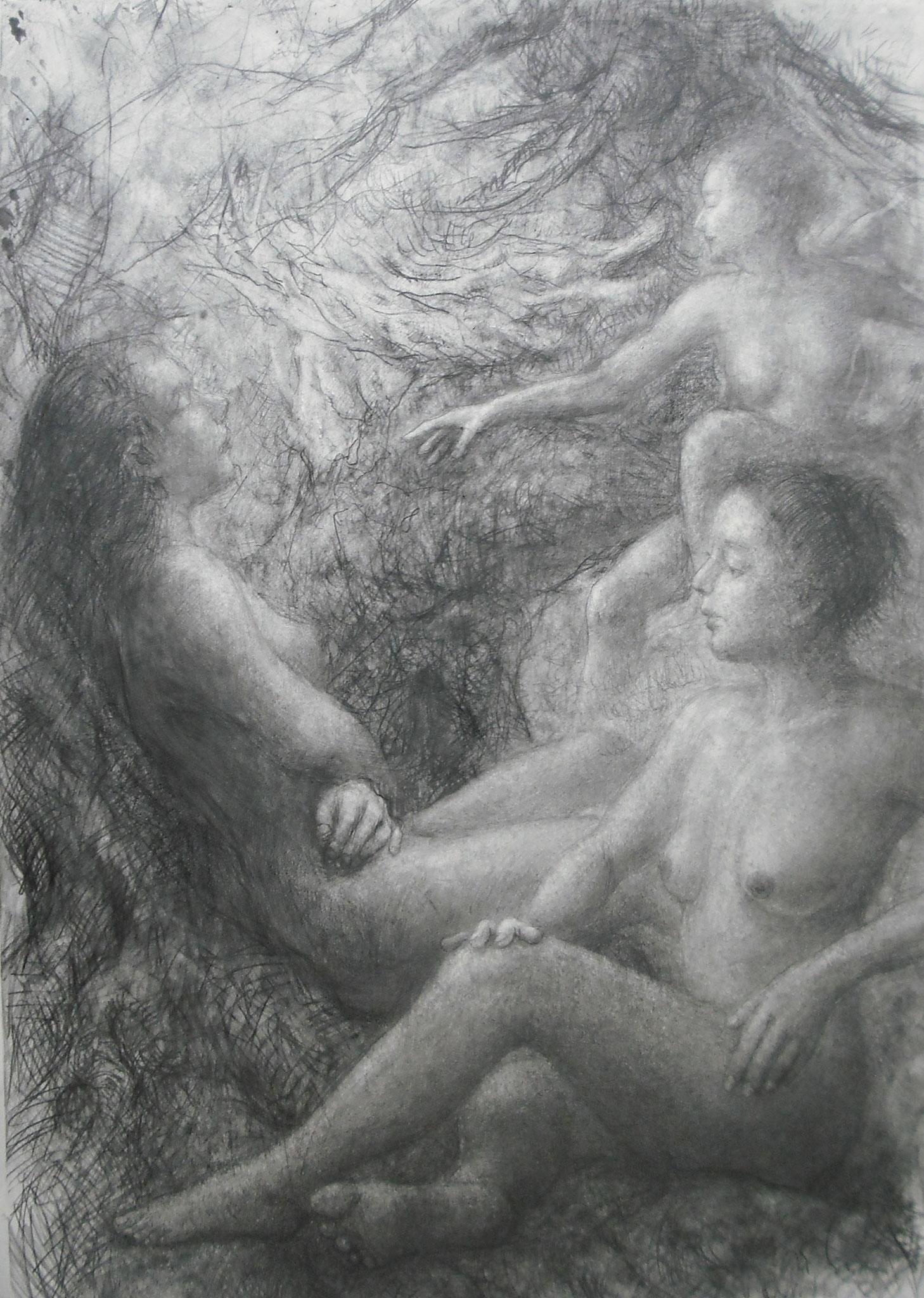 「日暮しの松の下で」 鉛筆・画用紙