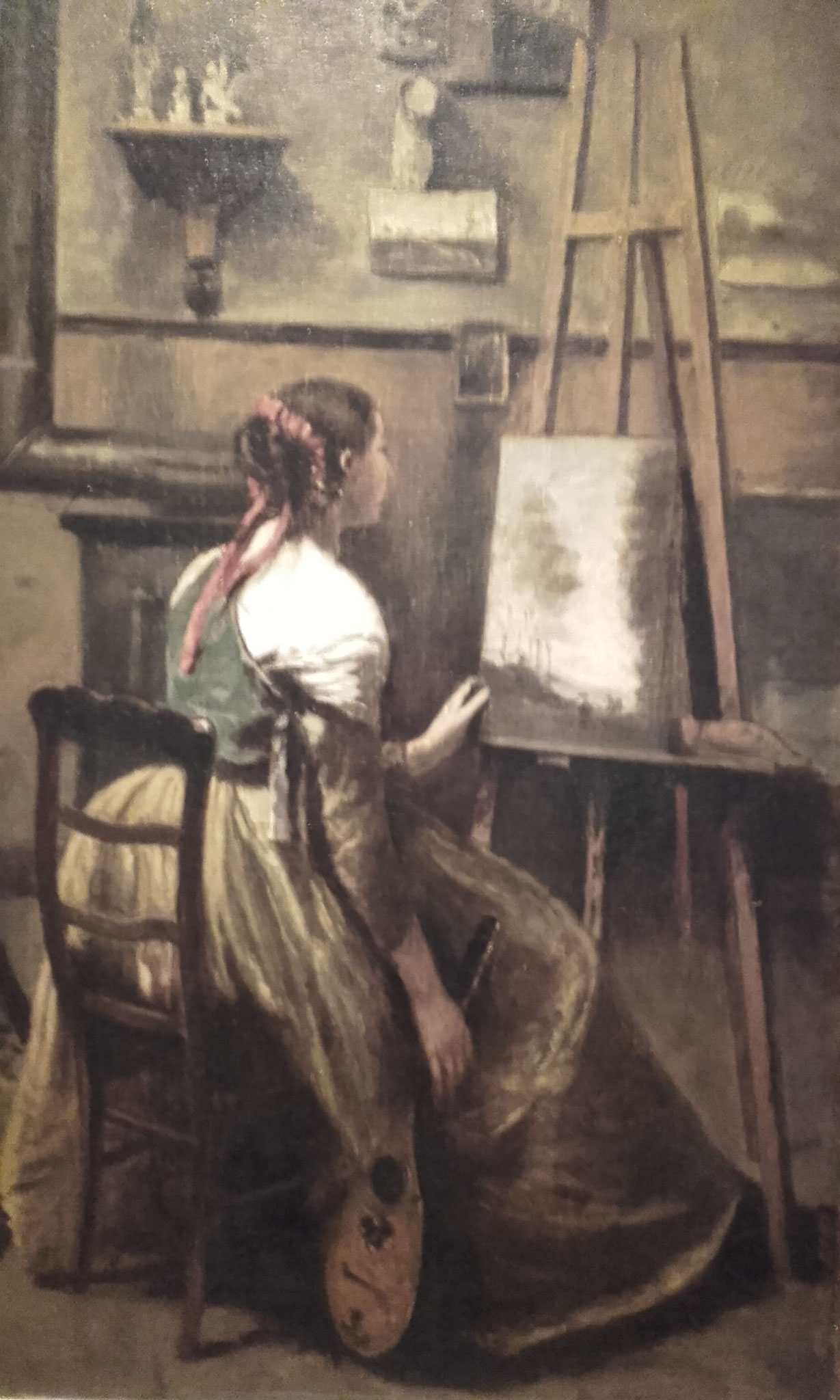 L'atelier de COROT : jeune femme assisse devant l'atelier