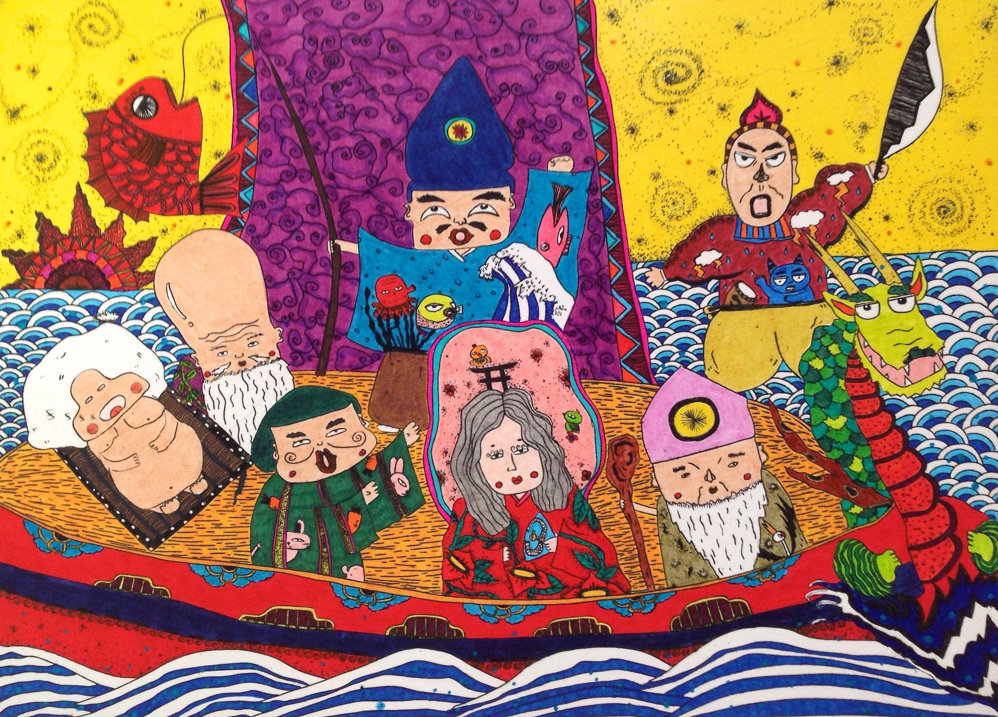 こばやしまな 七福神御一行様 / Mana Kobayashi  The Seven Deities of Good Fortune