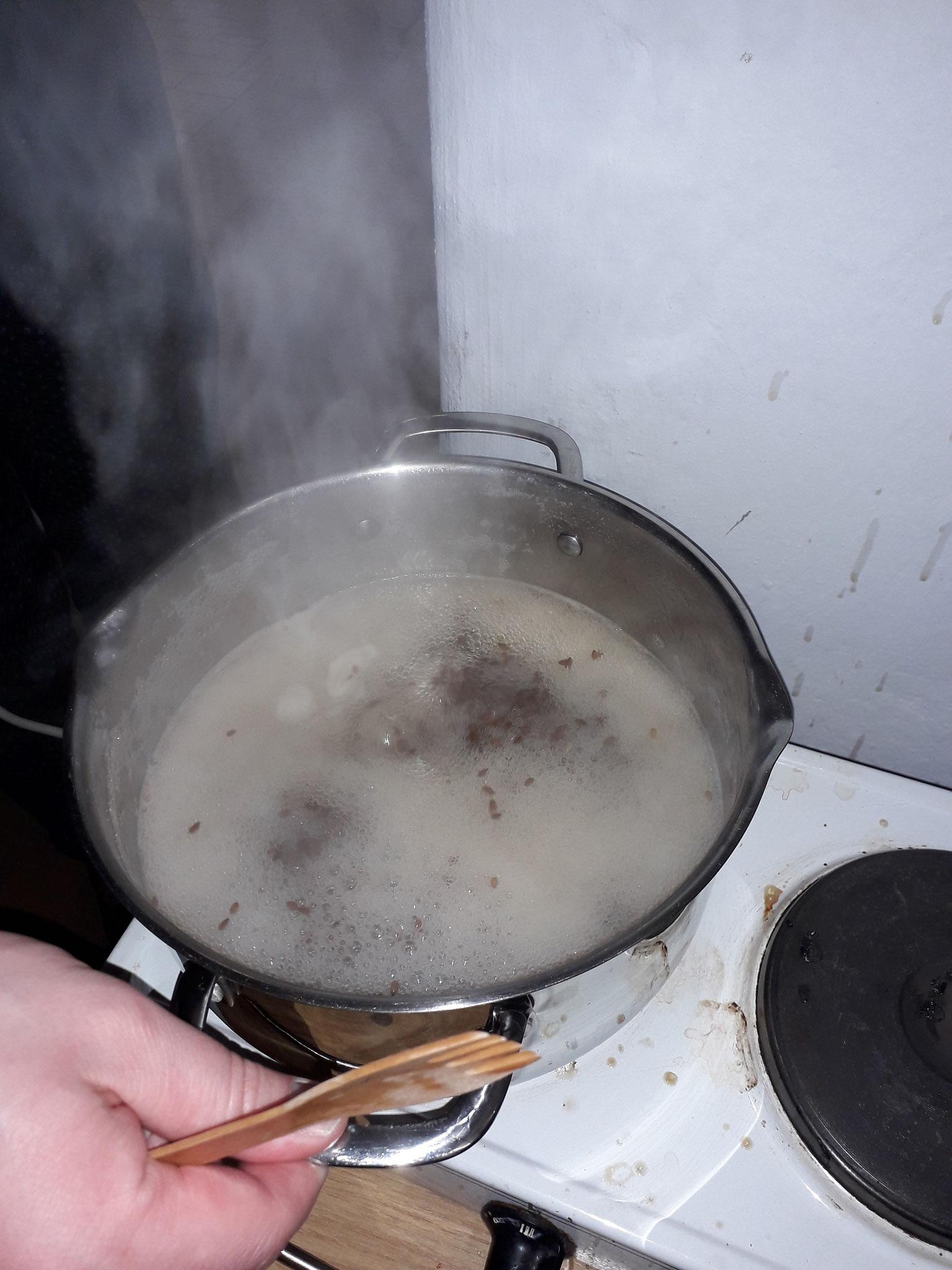 Das Kochen der Leinsamenkörper erfordert viel Geduld, da über die Hälfte des Wassers verkochen muss.