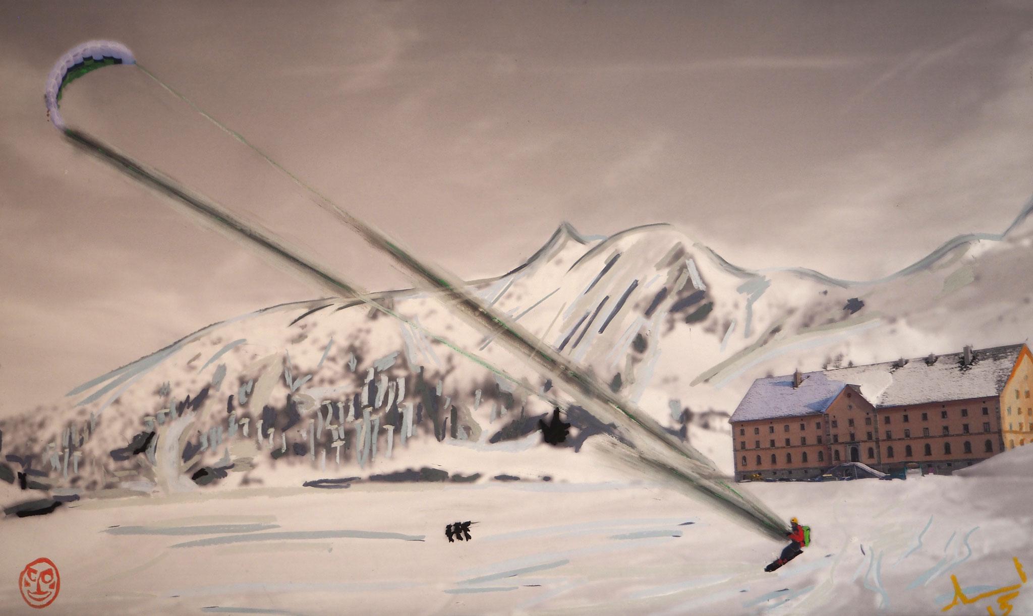 S_kite 100cmx60cm - Snowkiten Simplonpass 2000m