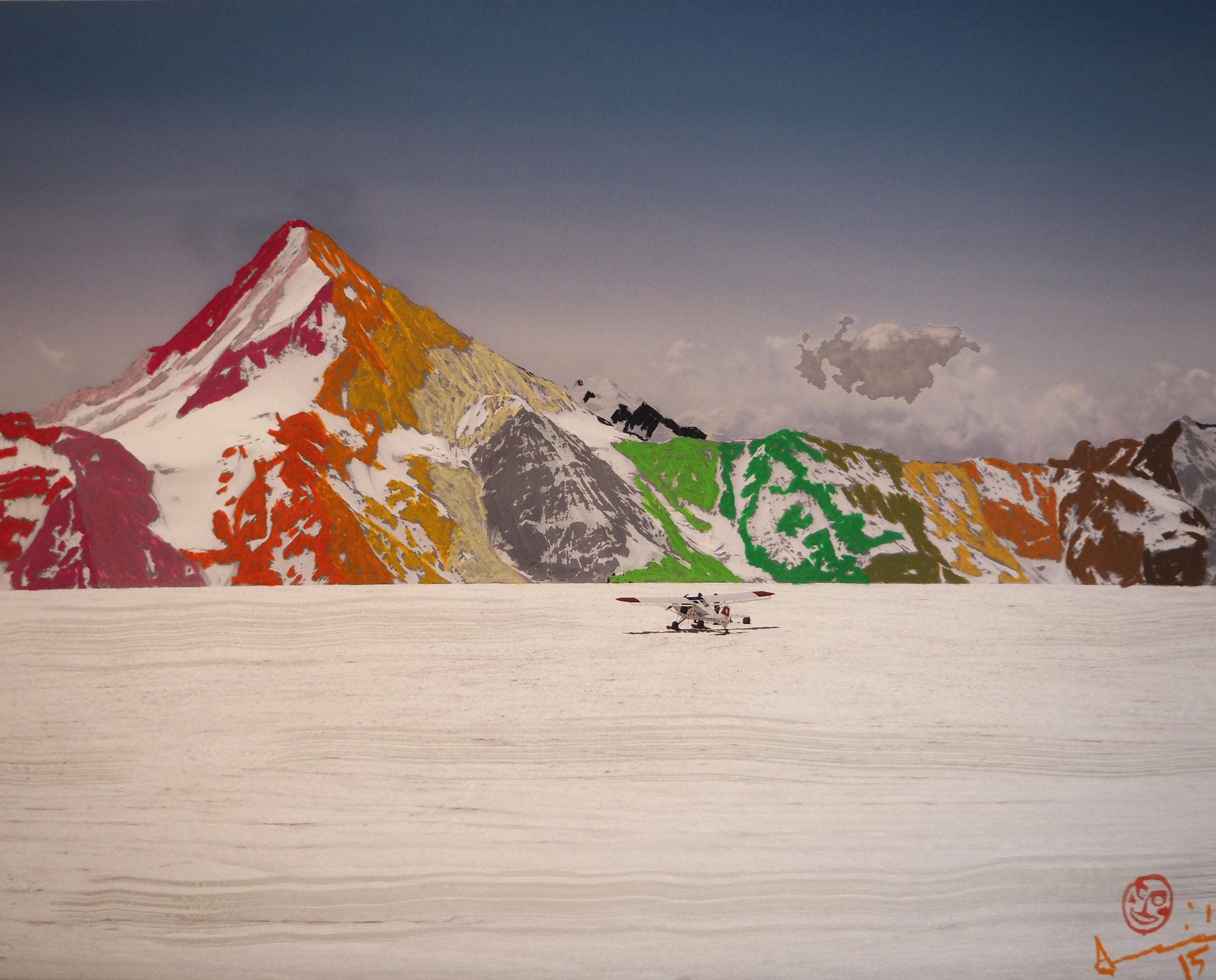 Bielette 100cmx80cm - Blick vom Petersgrat zum Bietschhorn