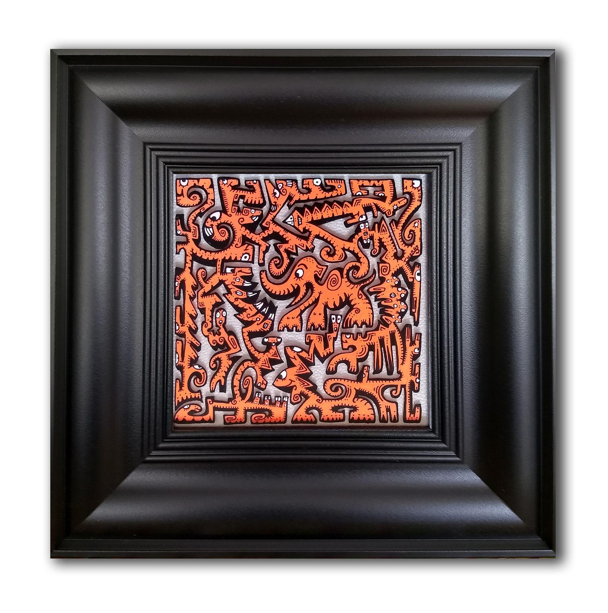 Titre : PT9/feutres acrylique sur verre synthétique/ fond papier effet cuir silver/format cadre 35.5/35.5cm/dessin : 18.5/18.5 prix : 70 euros