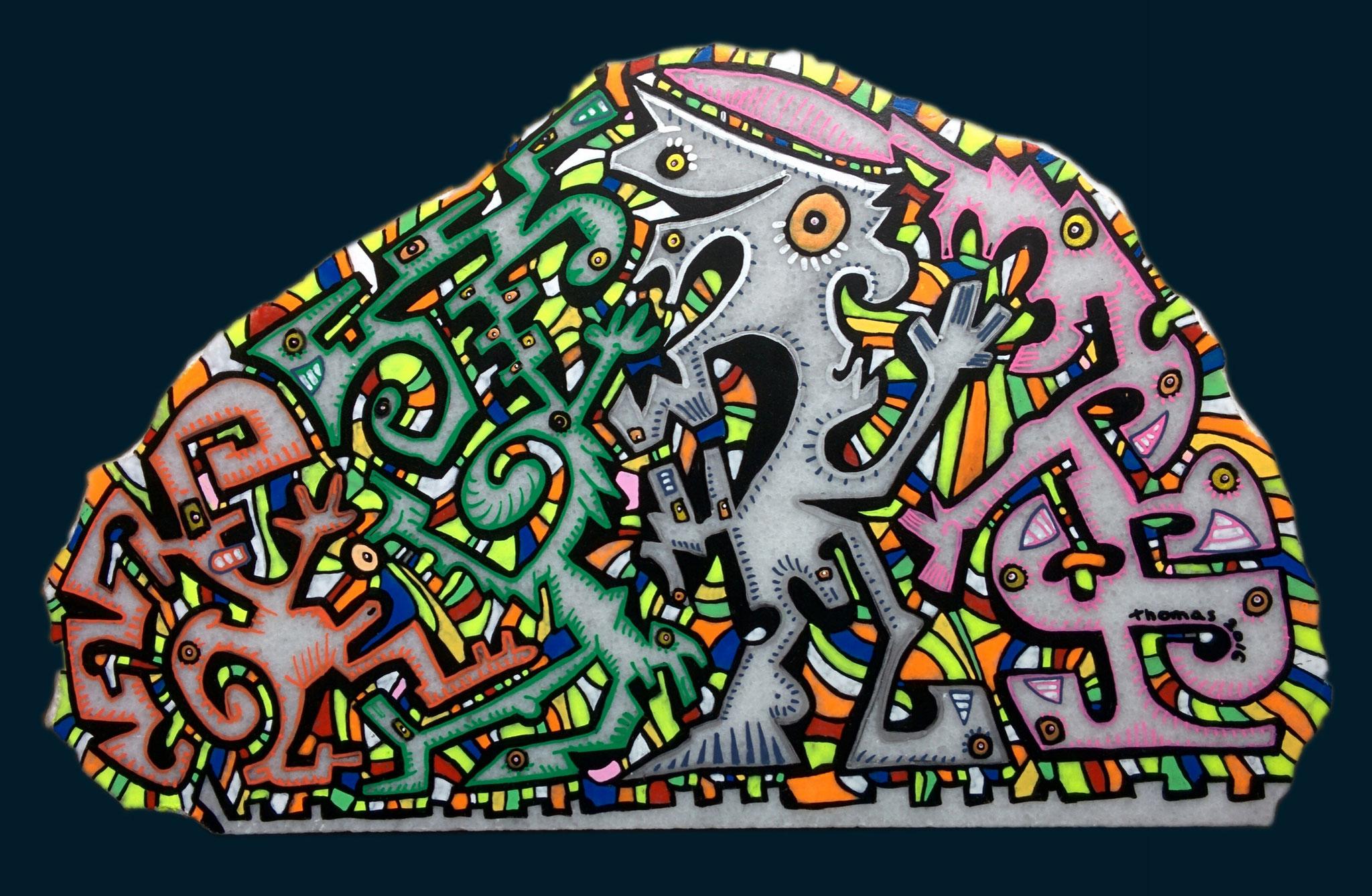Marbre n°42/ taille : 30x18cm/ épaisseur : 3cm/ feutres acrylique/finition vernis satin/2016/ prix : 80 euros