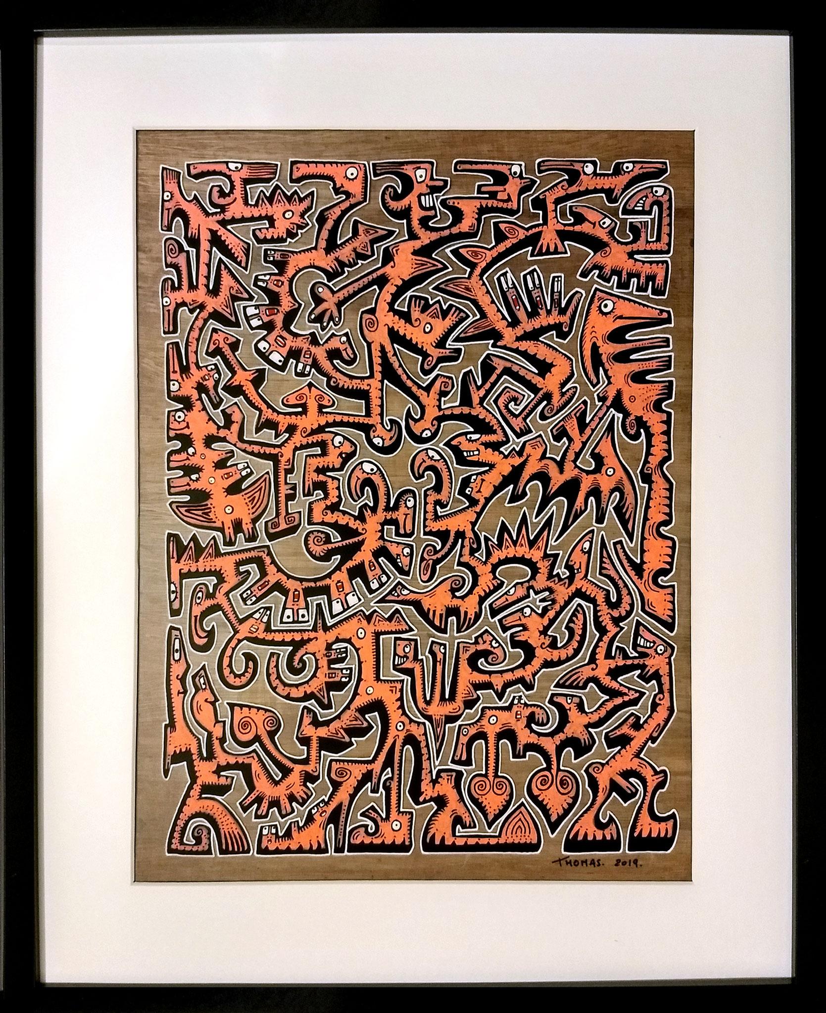 Titre : MT2/ feutres acrylique sur pvc transparent/ fond papyrus antique/format avec cadre : 52.5/42 cm/ prix : 90 euros