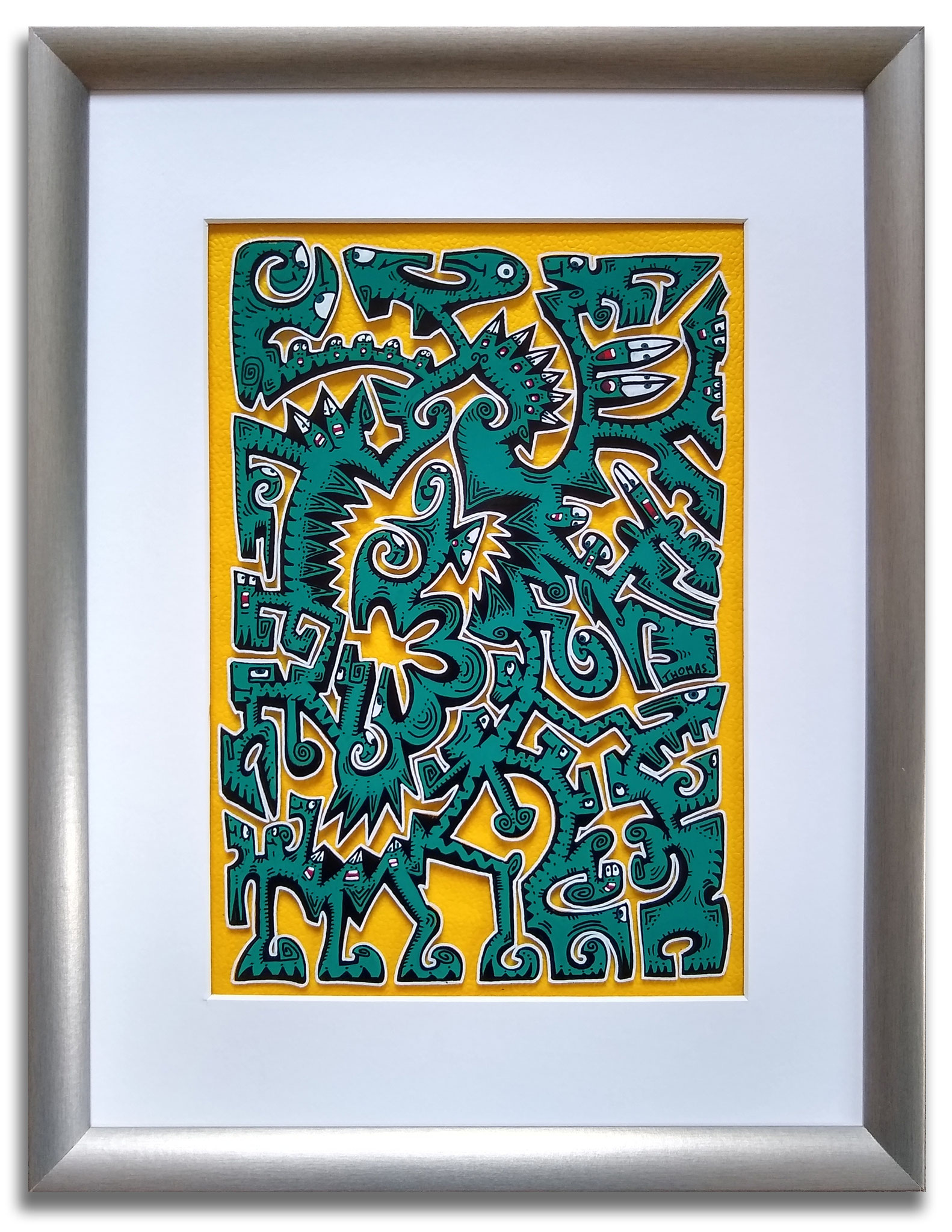 Titre : MT7/ feutres acrylique sur verre synthétique/ fond papier effet cuir jaune/format avec cadre : 52.5/42 cm/  prix : 80 euros