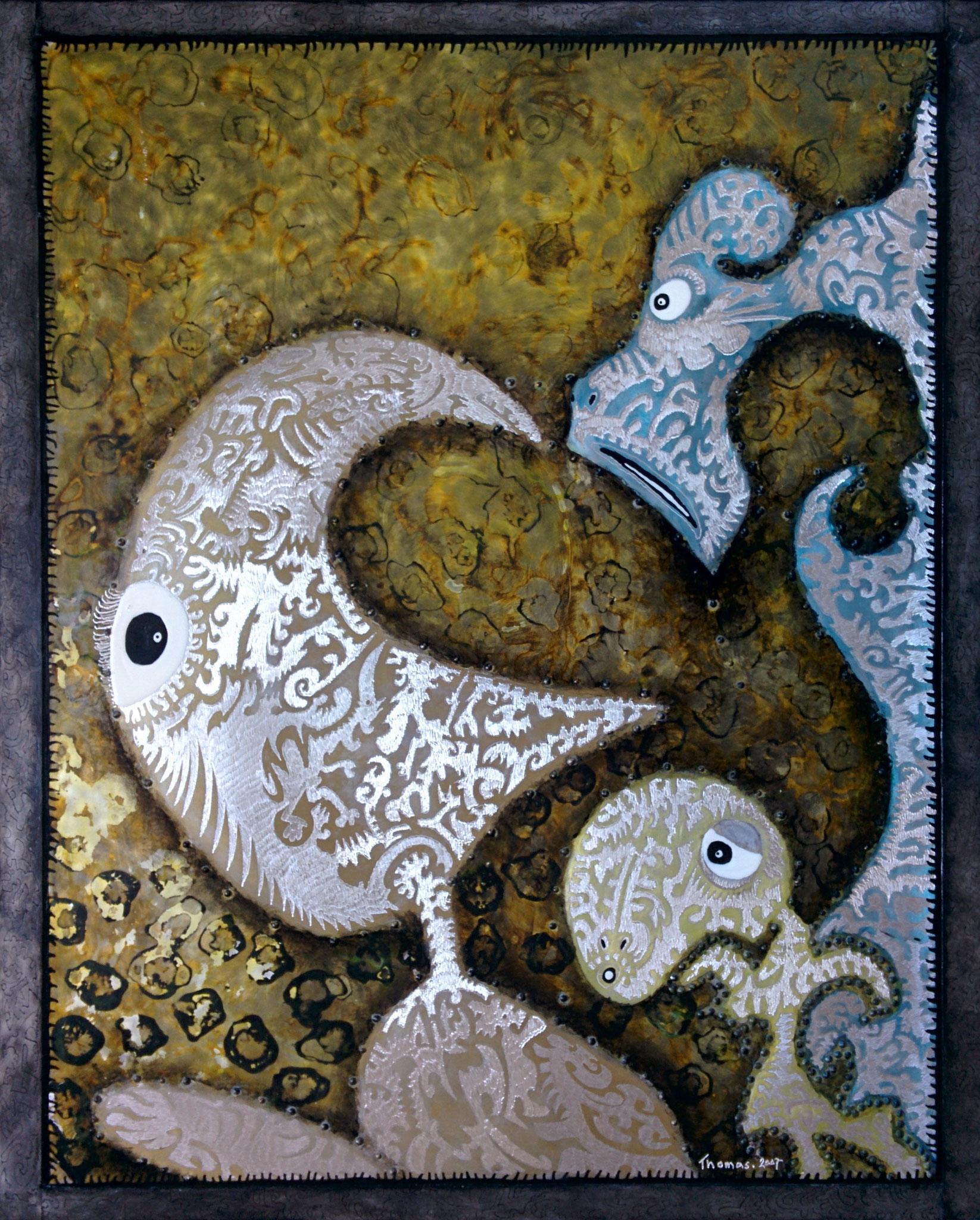 Les Padaks / tableau sur feuille d'aluminium clouée sur panneau médium/ format : 69x56x1.5cm/ peinture acrylique et vernis/2007/ prix : 300 euros
