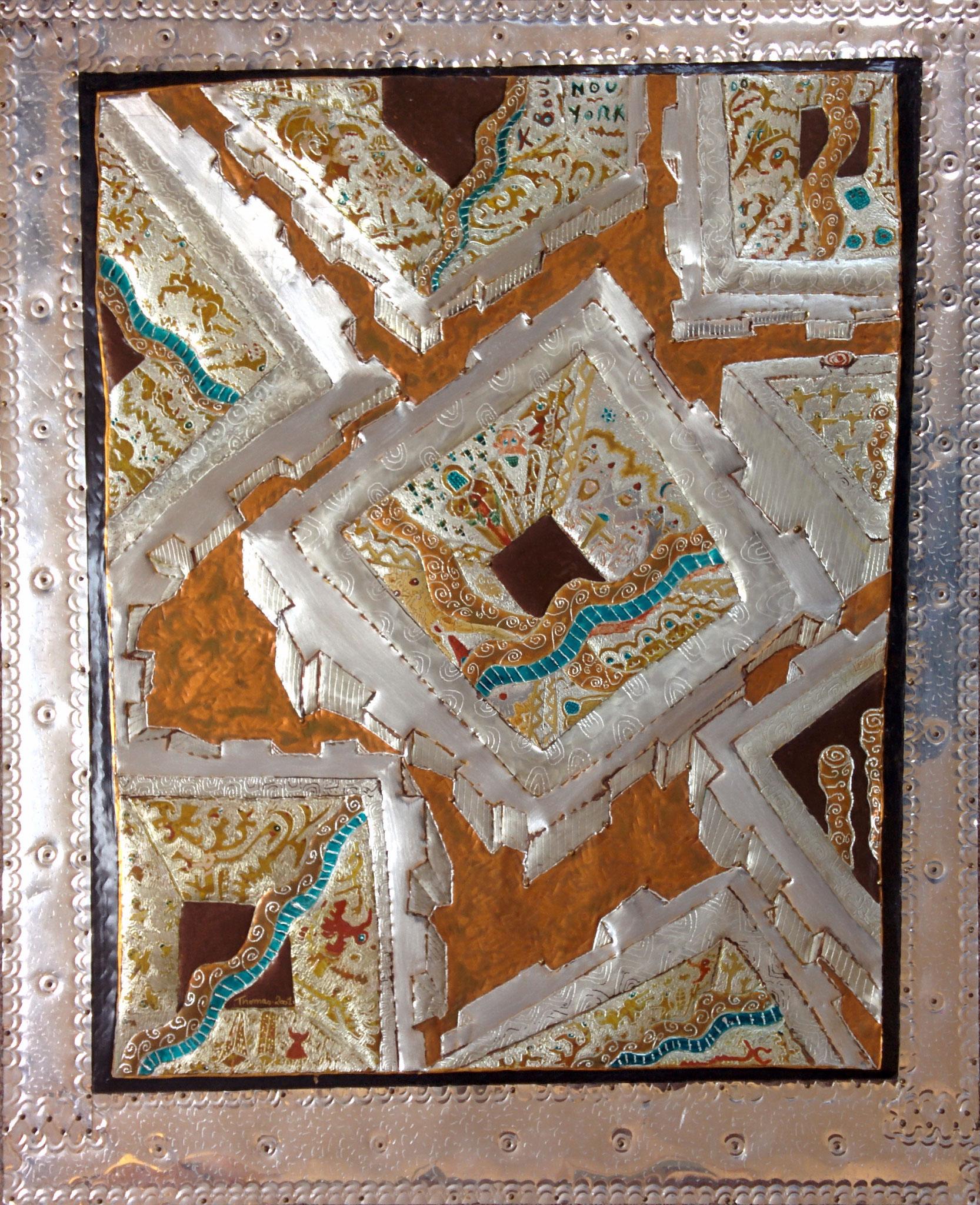 Les ruines du pouvoir/ tableau sur feuille d'aluminium clouée sur panneau médium/ format : 69x56x1.5cm/ peinture acrylique et vernis/2001/indisponible