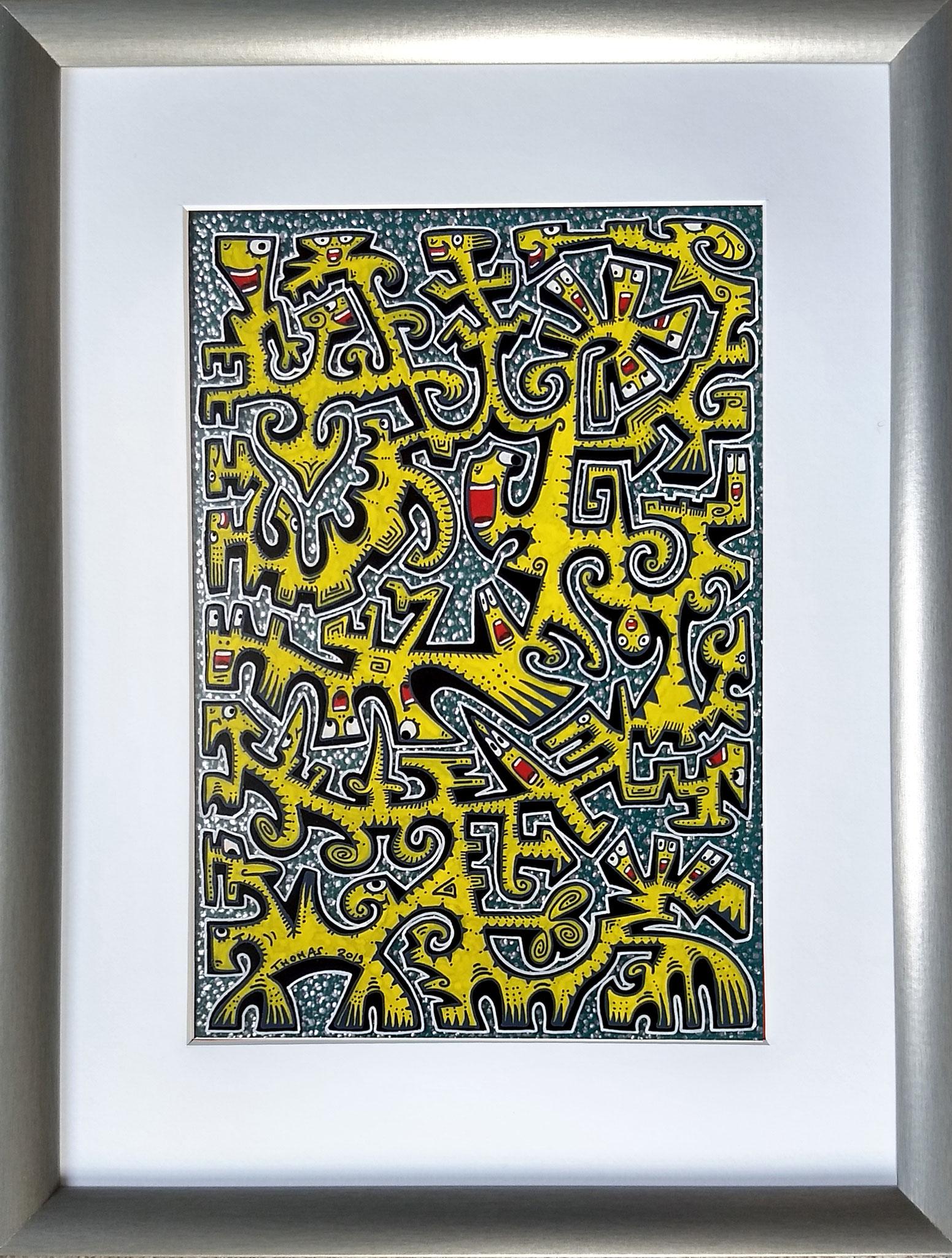 Titre : MT5/feutres acrylique sur pvc transparent/ fond turquoise- points chrome /format cadre 33/43cm/ dessin : 20/29cm / vendu