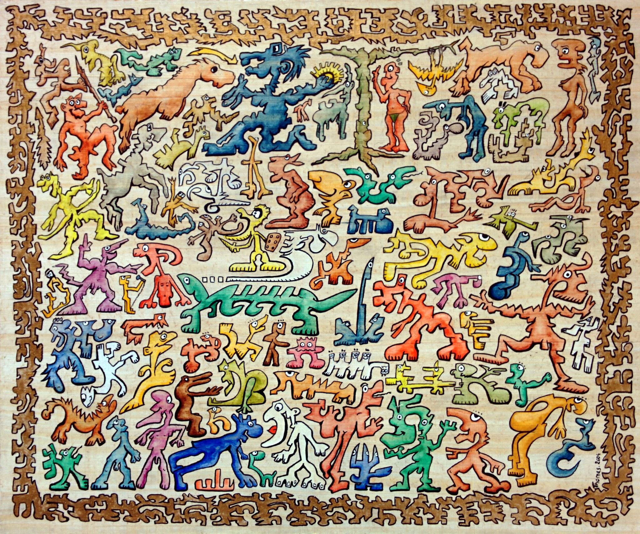 Le string d'Adam / tableau sur feuille de papyrus collée sur panneau médium/ format : 60x50x1cm/ feutres acrylique + aquarelle/ 2004/indisponible
