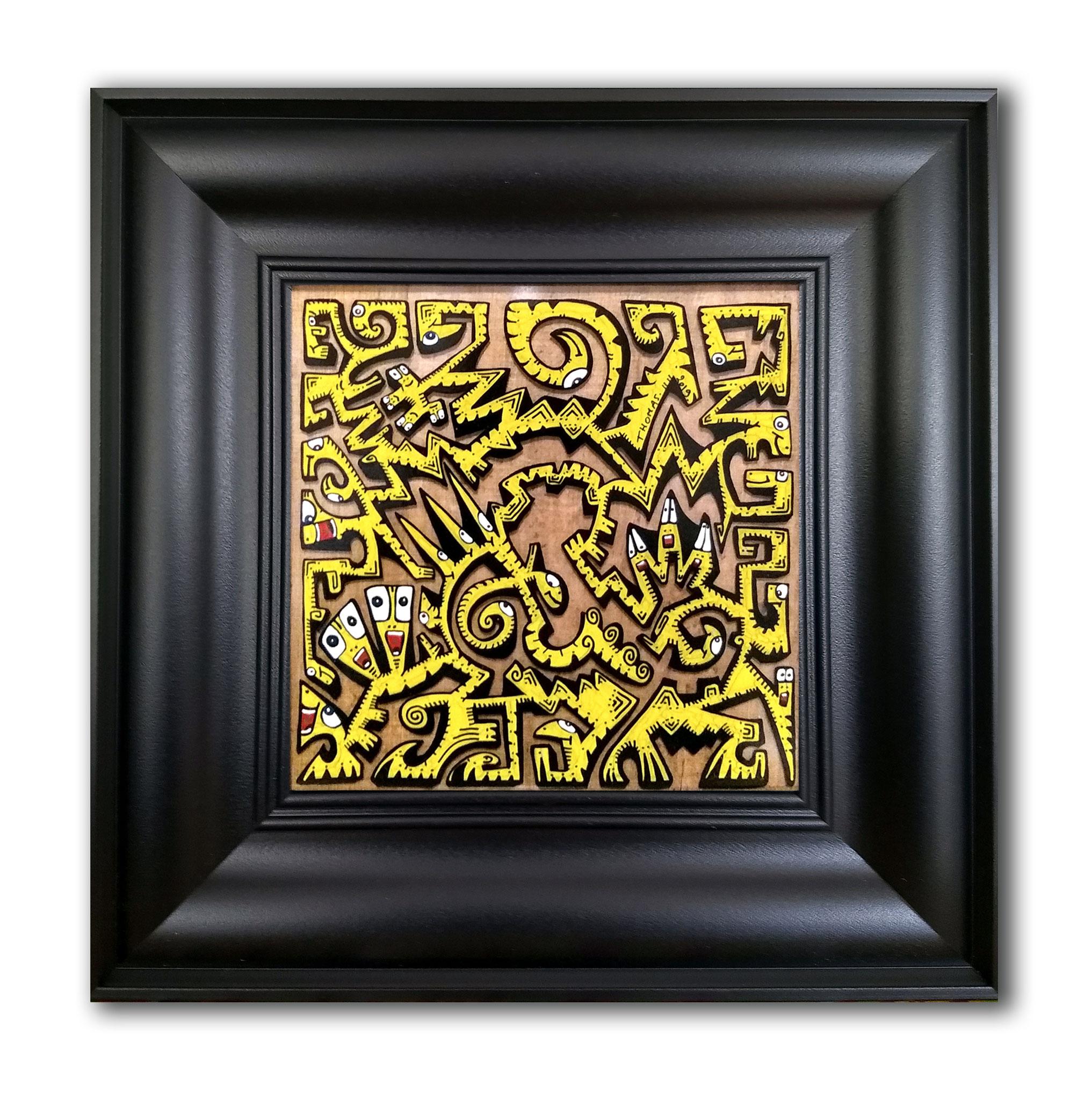 Titre : PT13/feutres acrylique sur verre synthétique/ fond papier papyrus antique /format cadre 35.5/35.5cm/dessin : 18.5/18.5cm/ prix : 80 euros