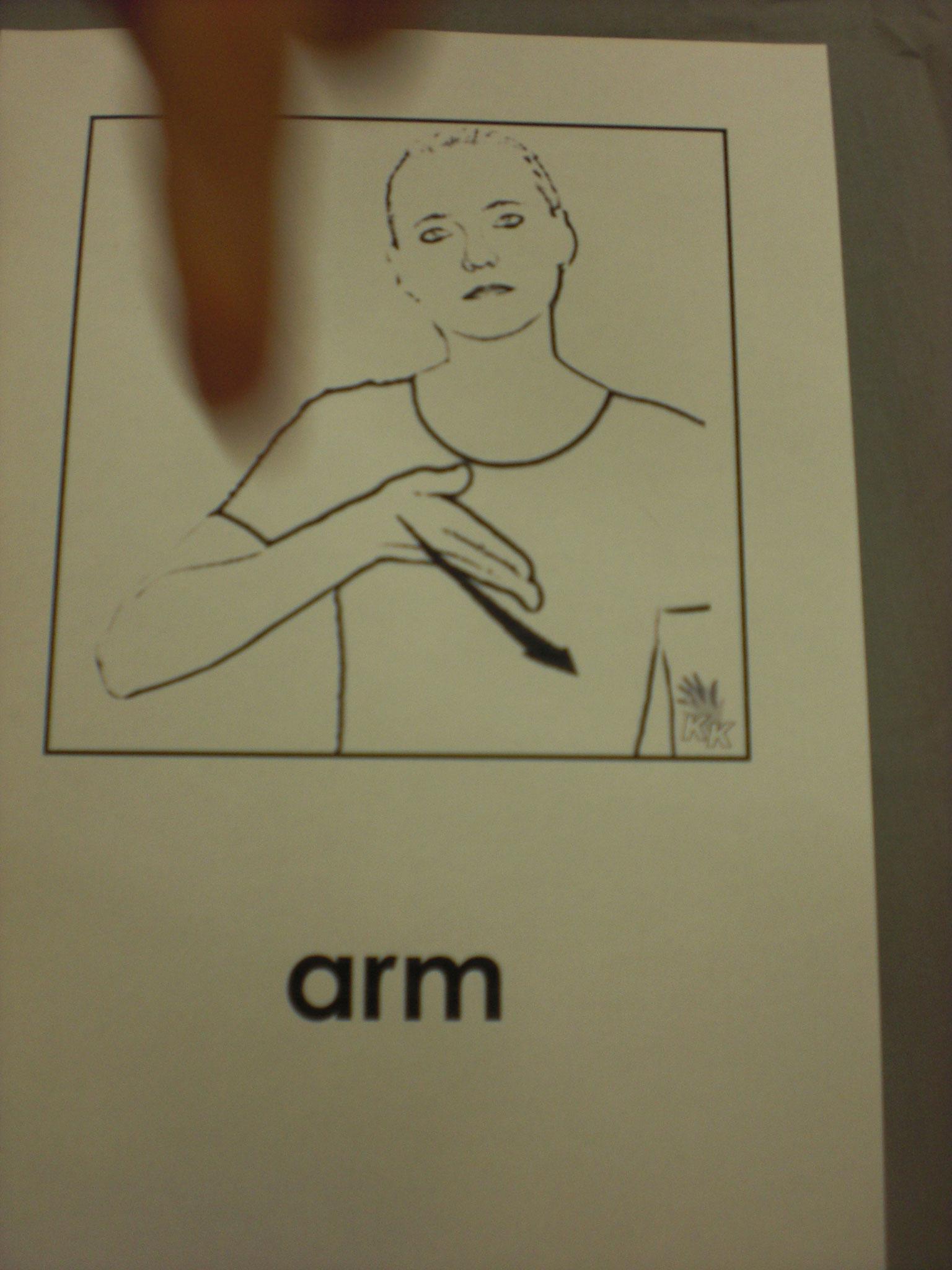 """Gebärde """"arm"""""""